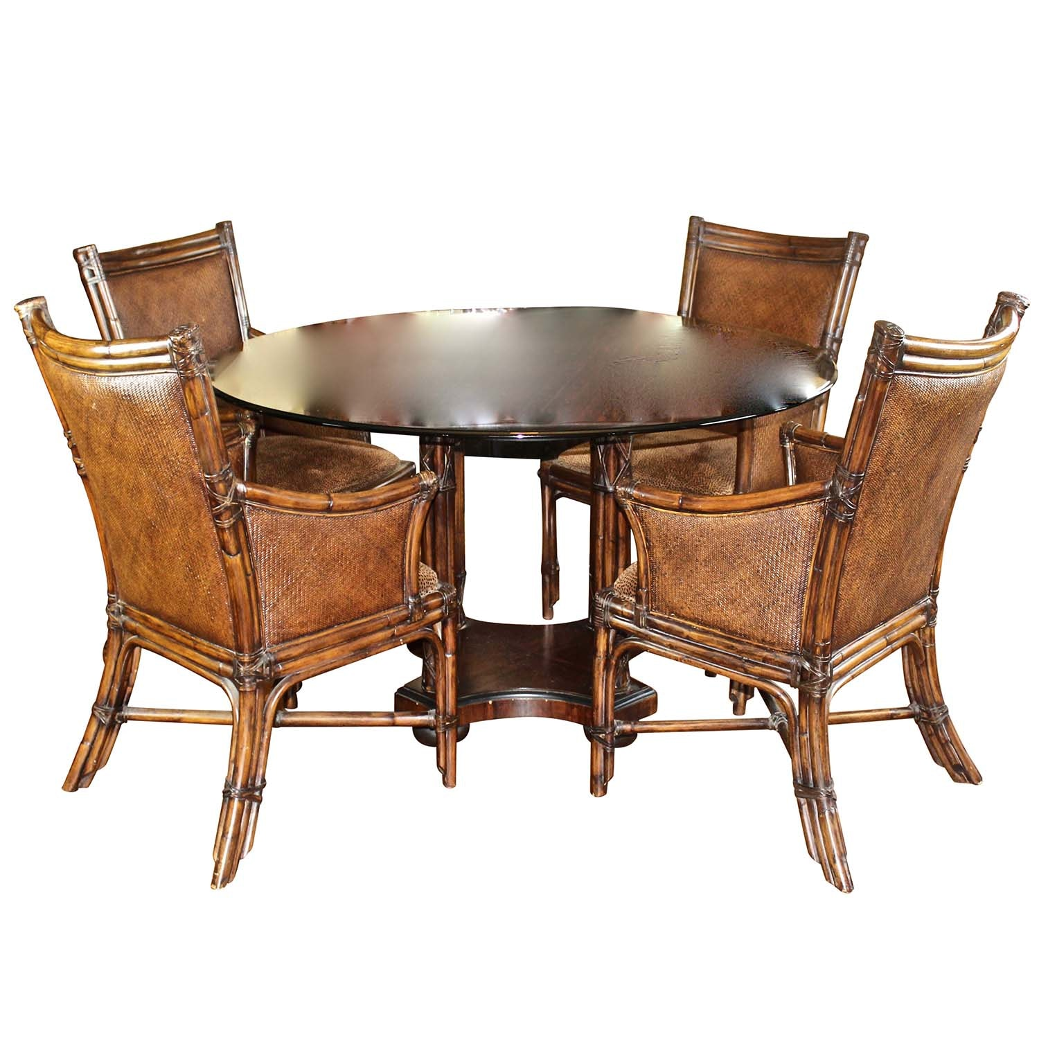 Round Glass Dining Table with Four Woven Chairs
