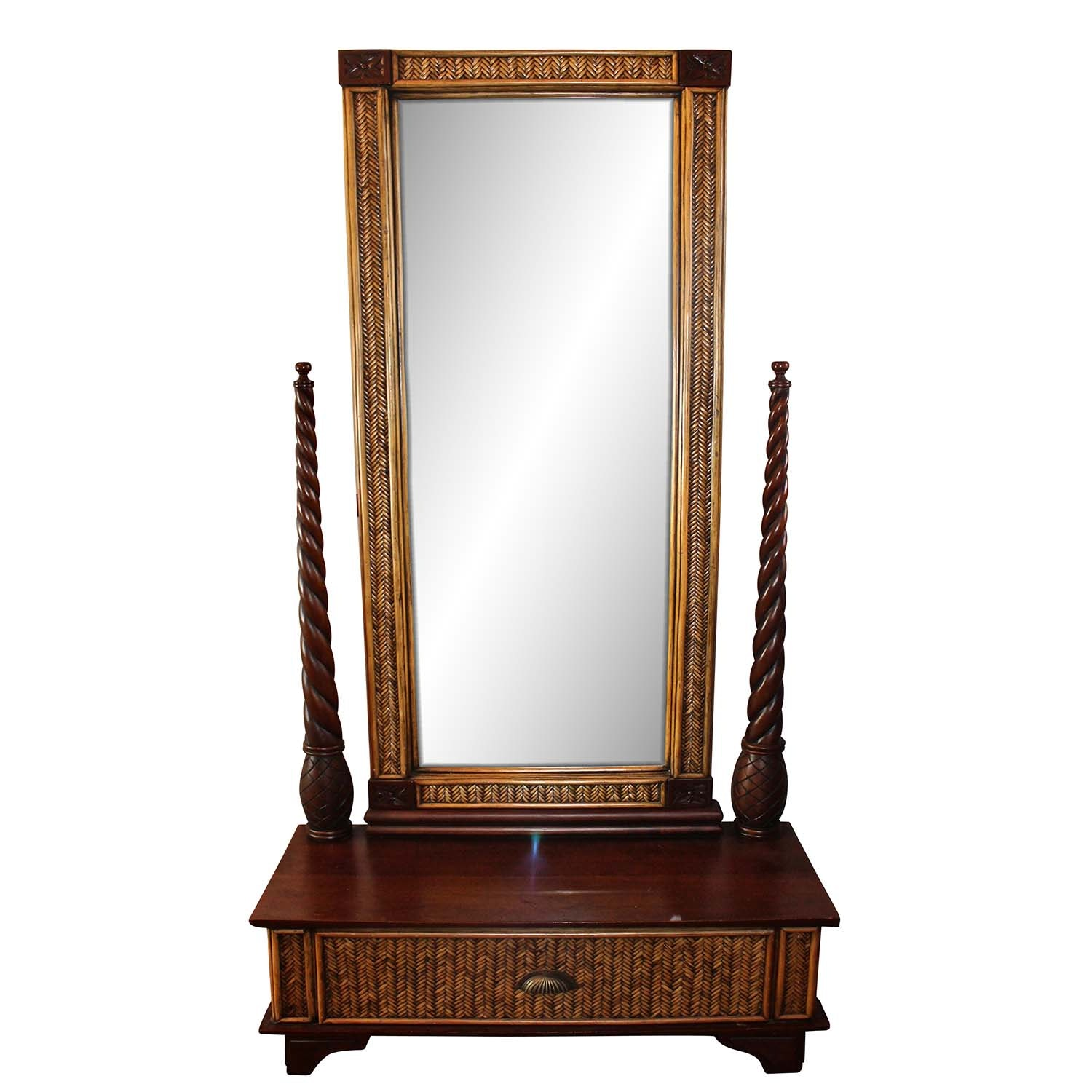 British Colonial Style Wood and Rattan Hall Mirror