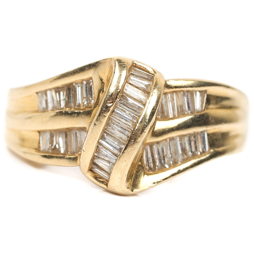 14K Yellow Gold Diamond Baguette Ring