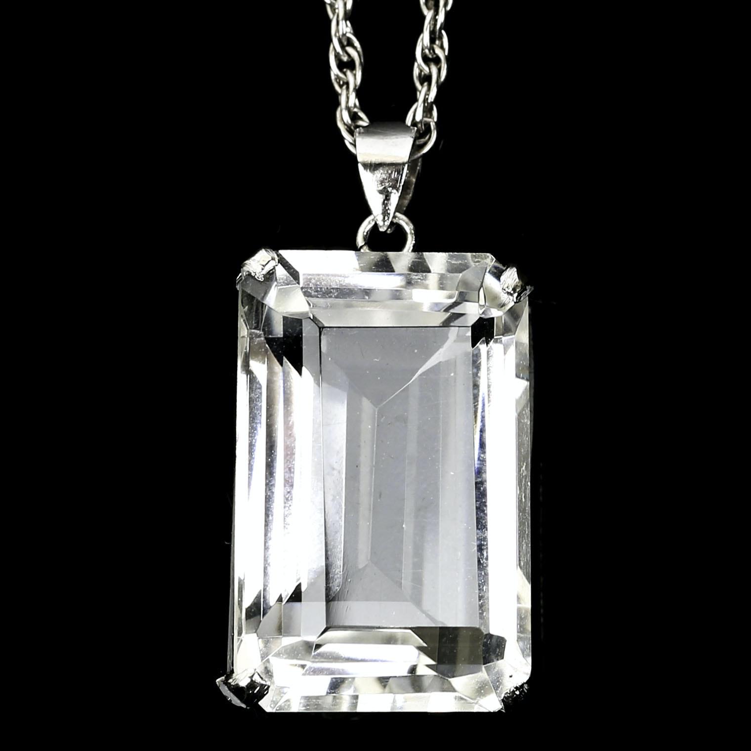 Sterling Silver 25.00 CT Quartz Crystal Pendant Necklace