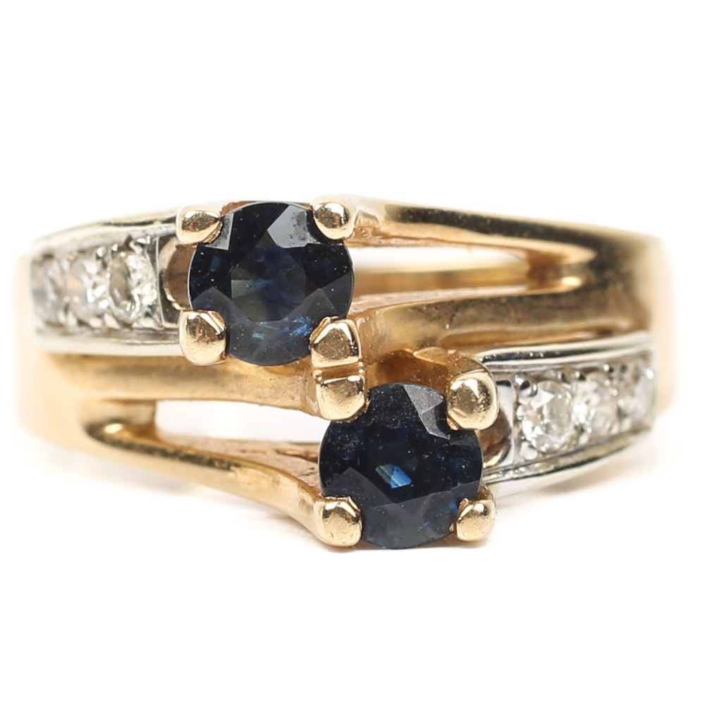 14K Yellow Gold Sapphire and Diamond Bypass Ring
