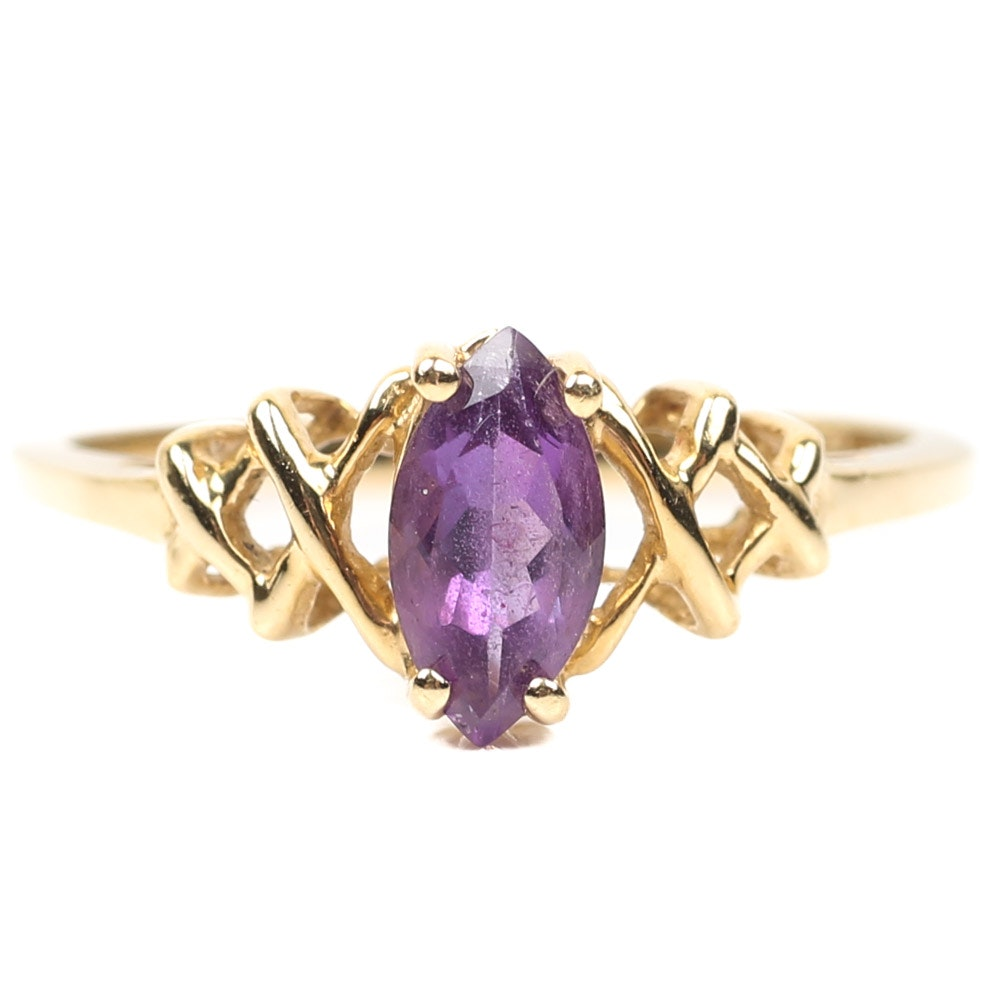 14K Yellow Gold Marquise Amethyst Ring