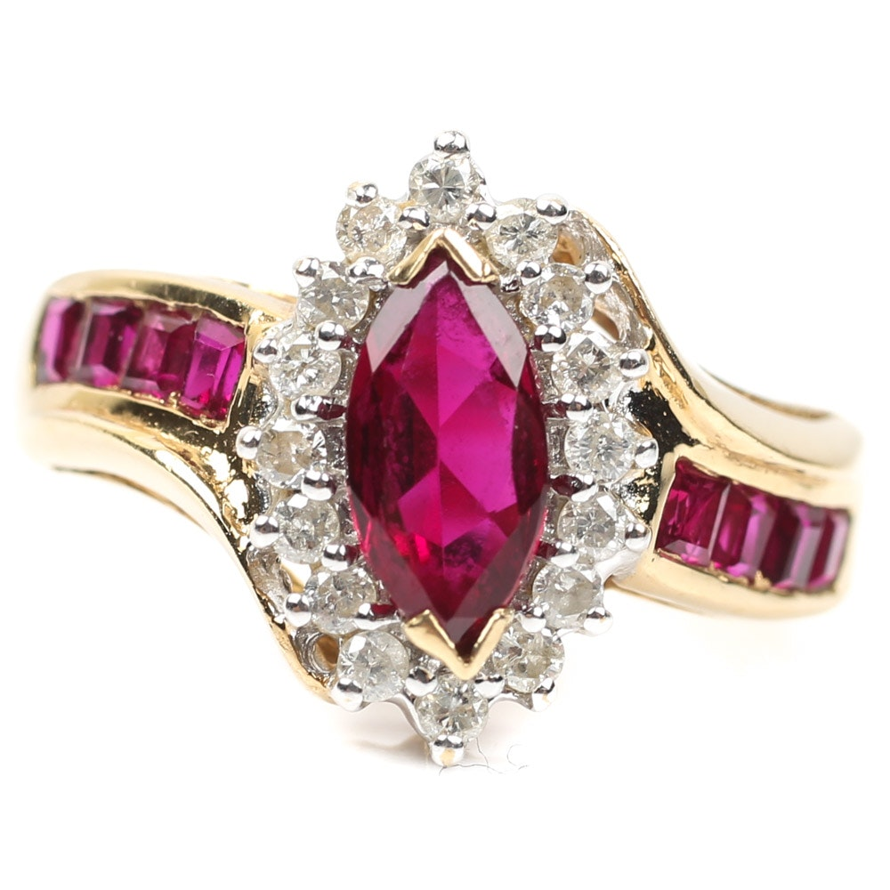 14K Yellow Gold Diamond and Synthetic Ruby Ring