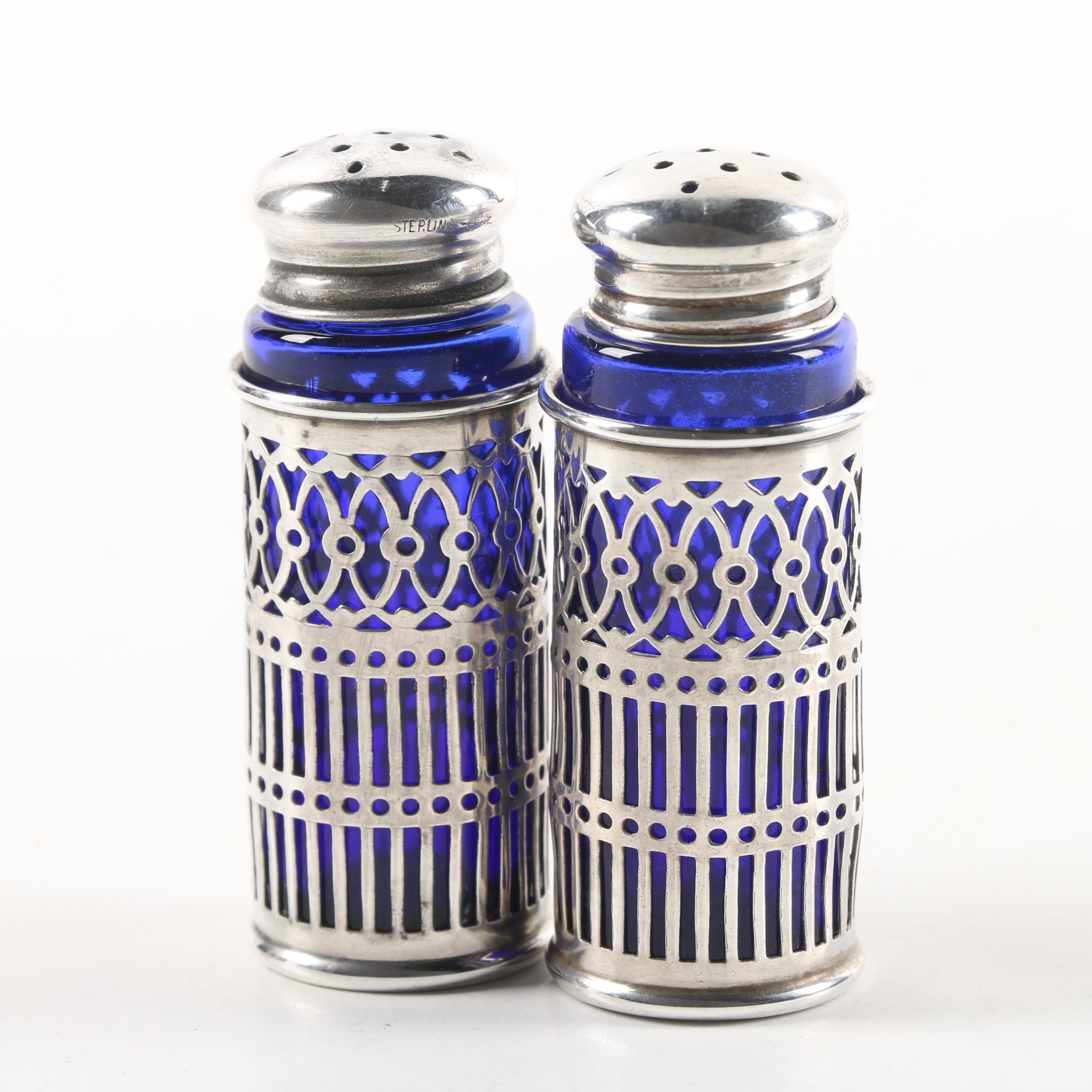 Webster Co. Sterling Silver and Cobalt Glass Salt and Pepper Shaker Set