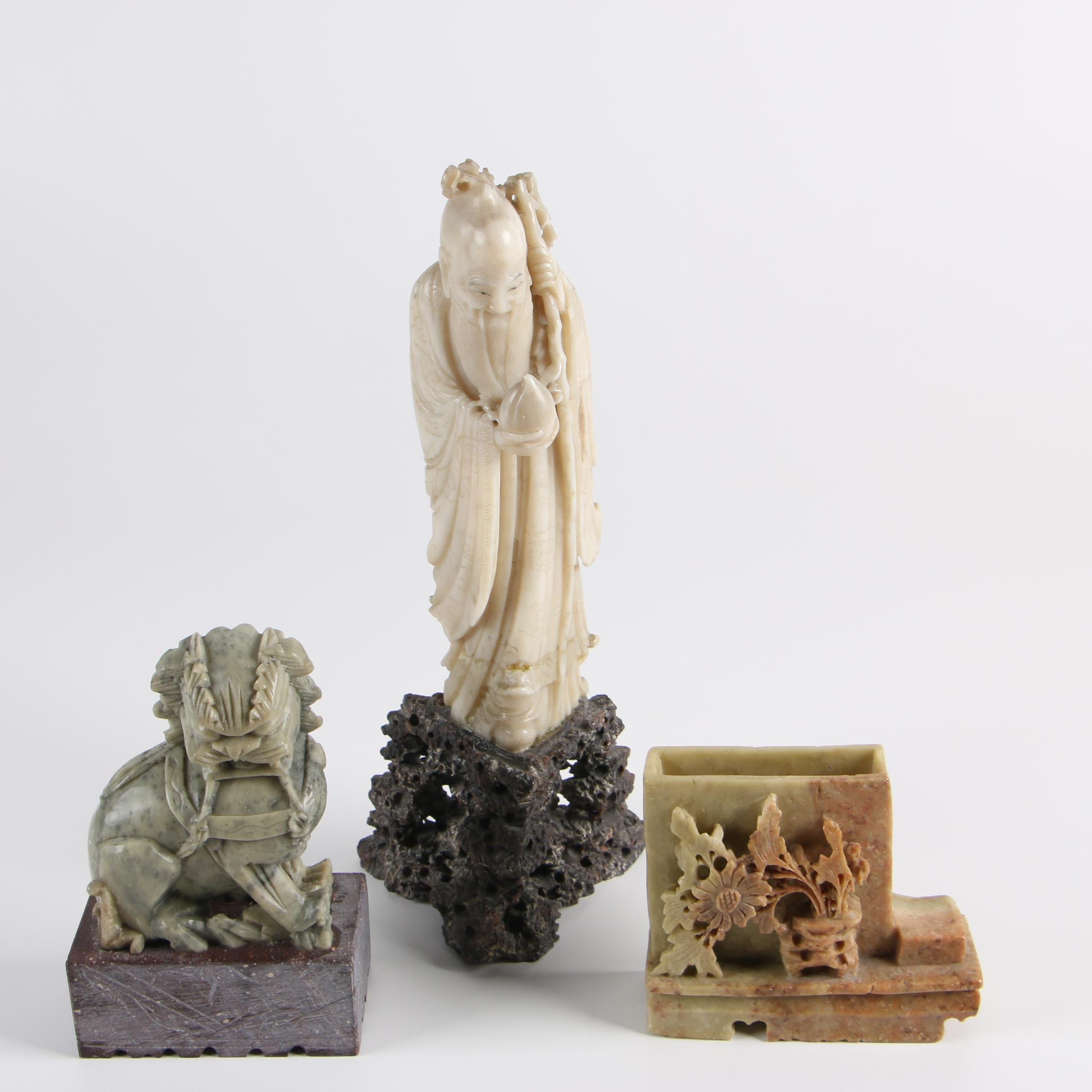 Chinese Soapstone Guardian Lion and God of Longevity Figurines with Inkwell