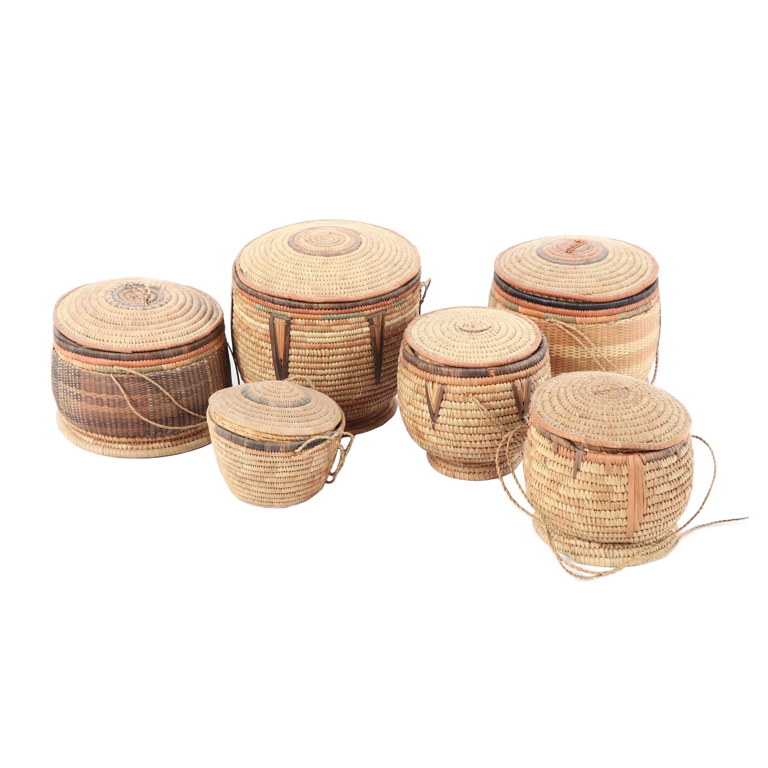 Vintage African Style Lidded Coil Baskets
