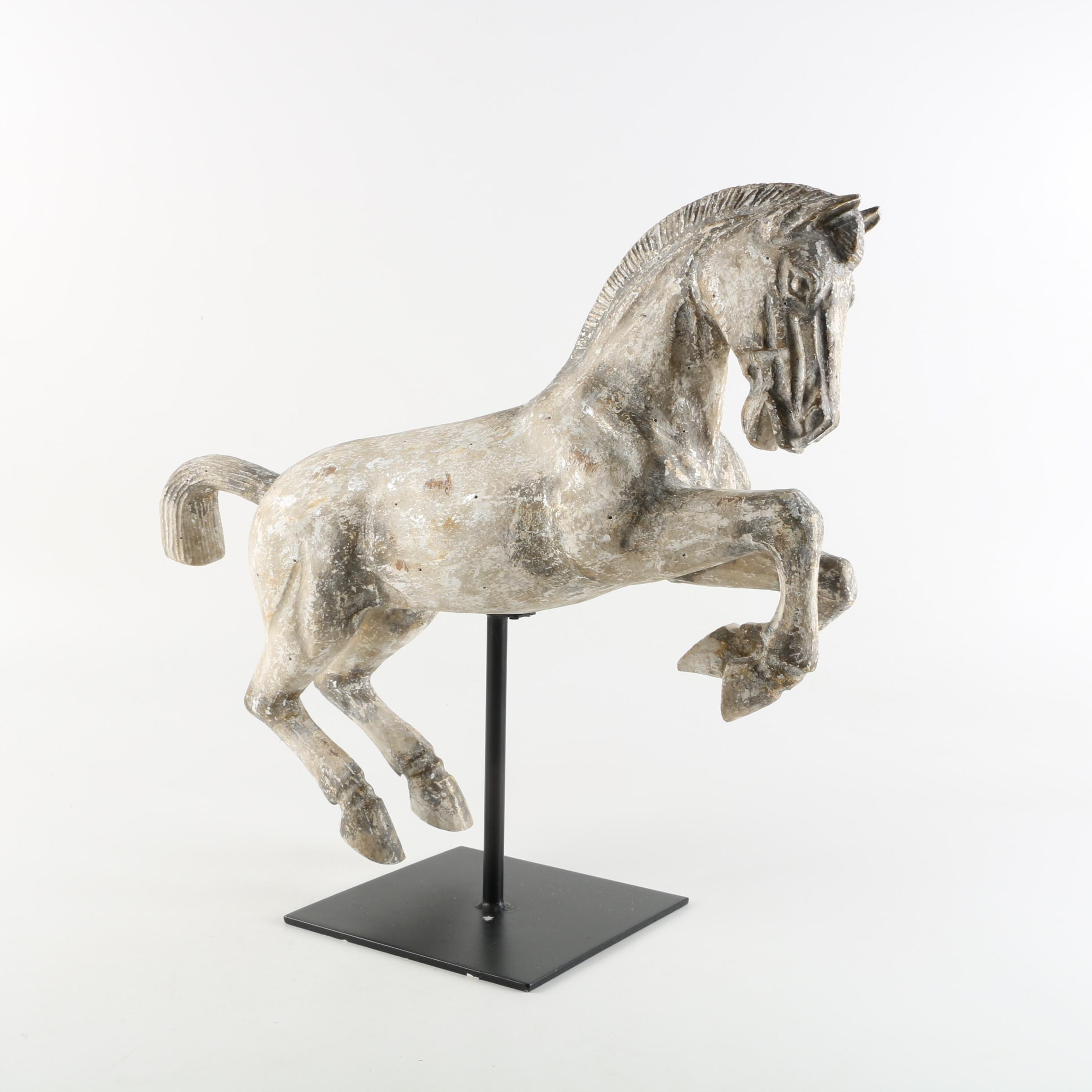 Contemporary Wooden Distressed Horse Statuette on Stand