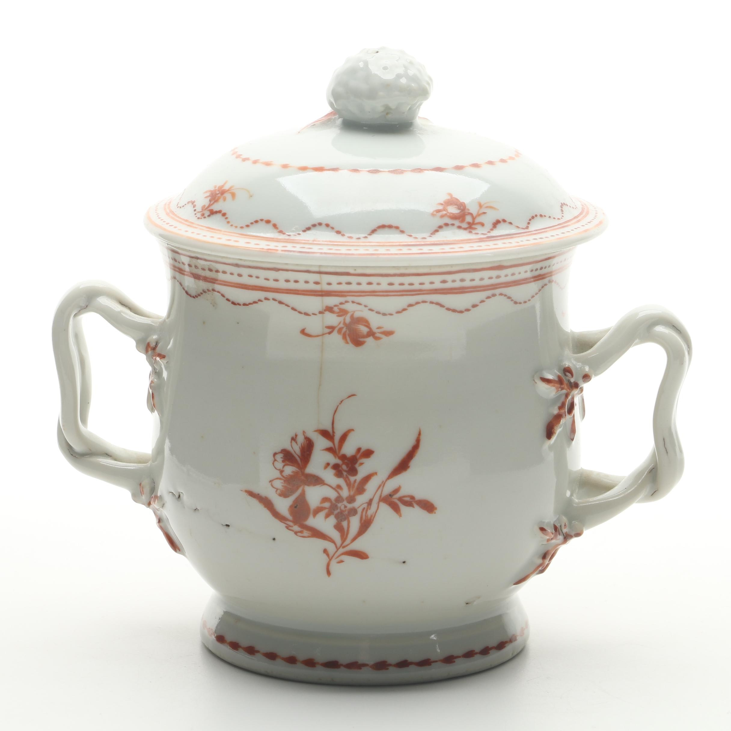 Chinese Export Porcelain Lidded Jar circa 1790-1800