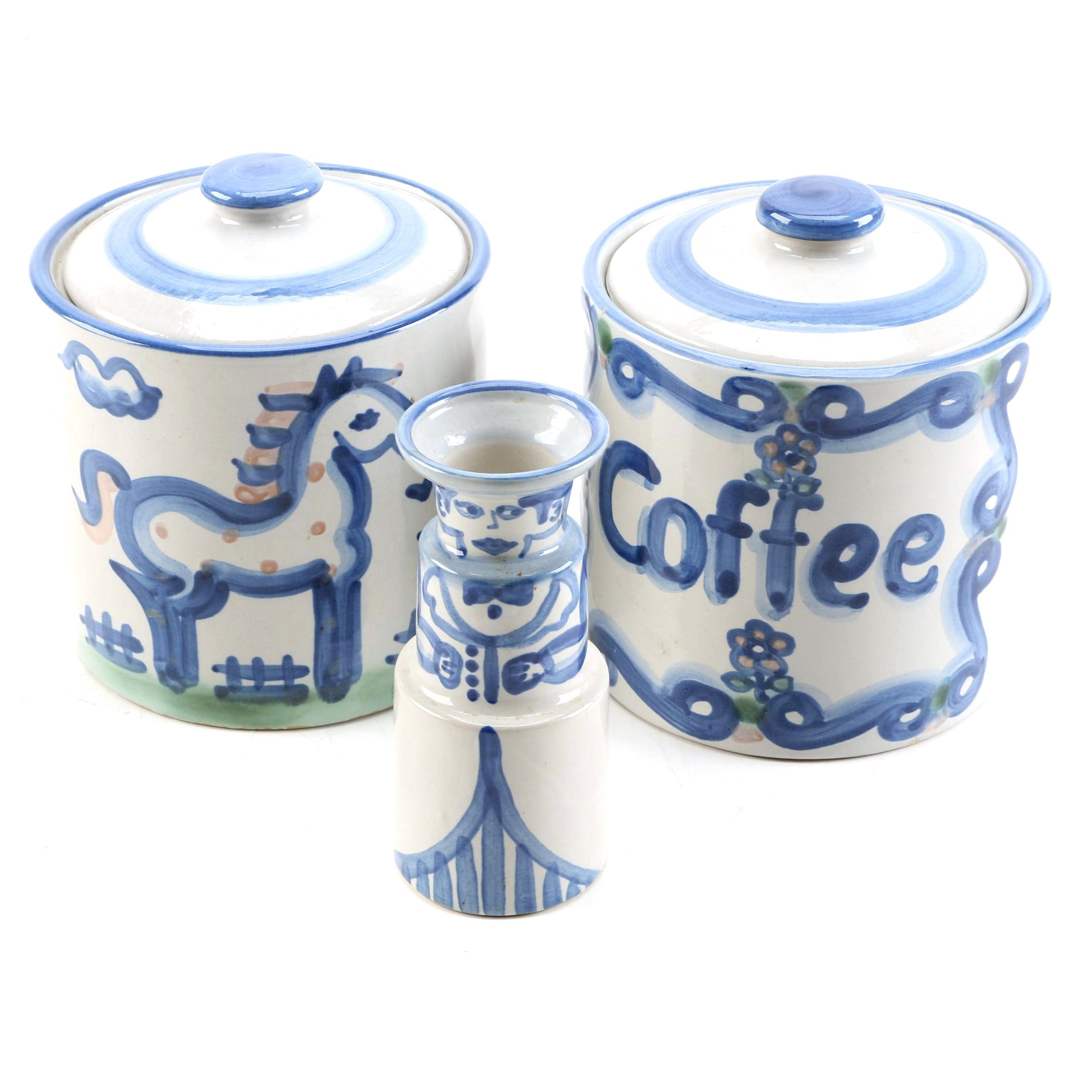 M. A. Hadley Pottery Lidded Canisters and Candle Holder
