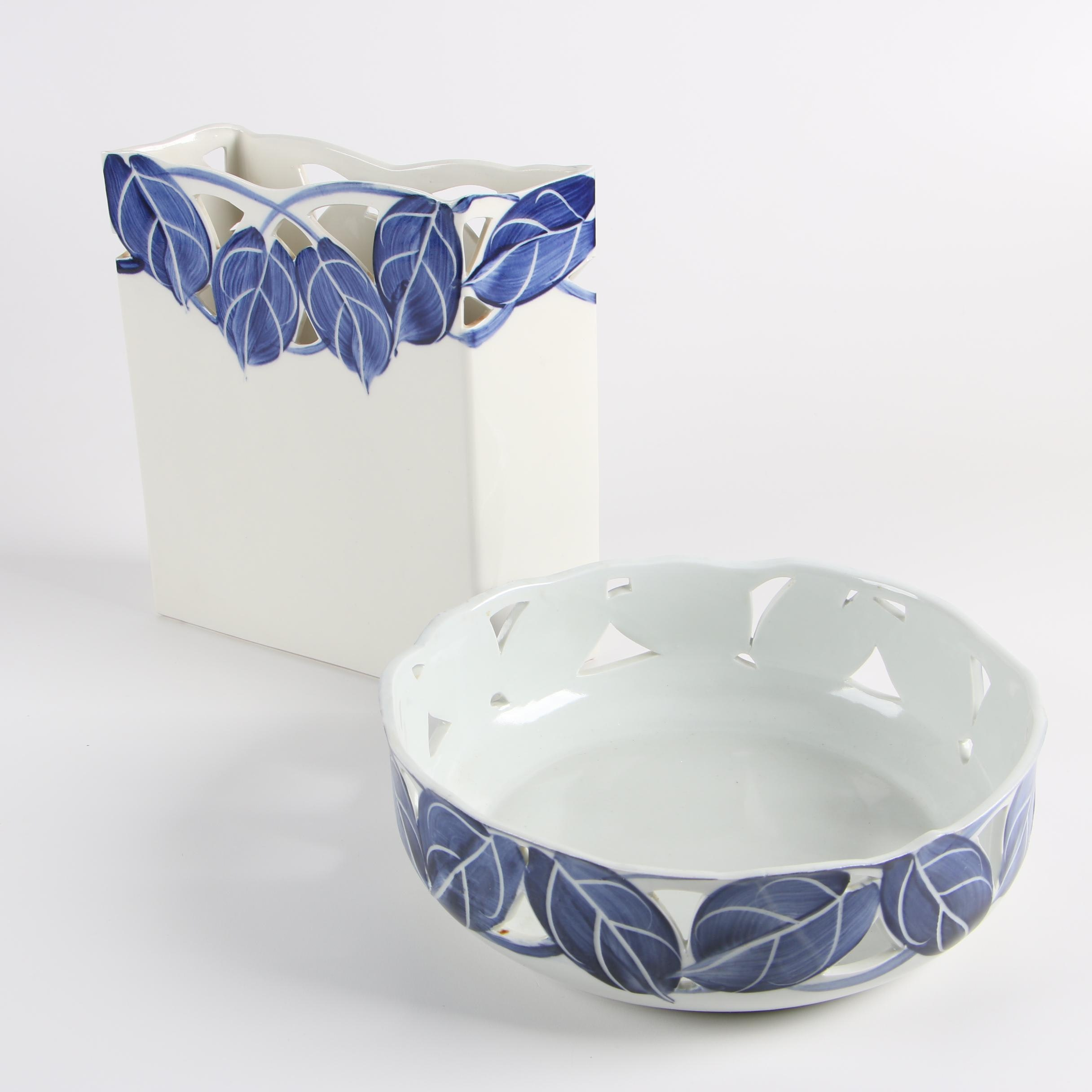 Caroline McKinney Studio Porcelain Bowl and Vase