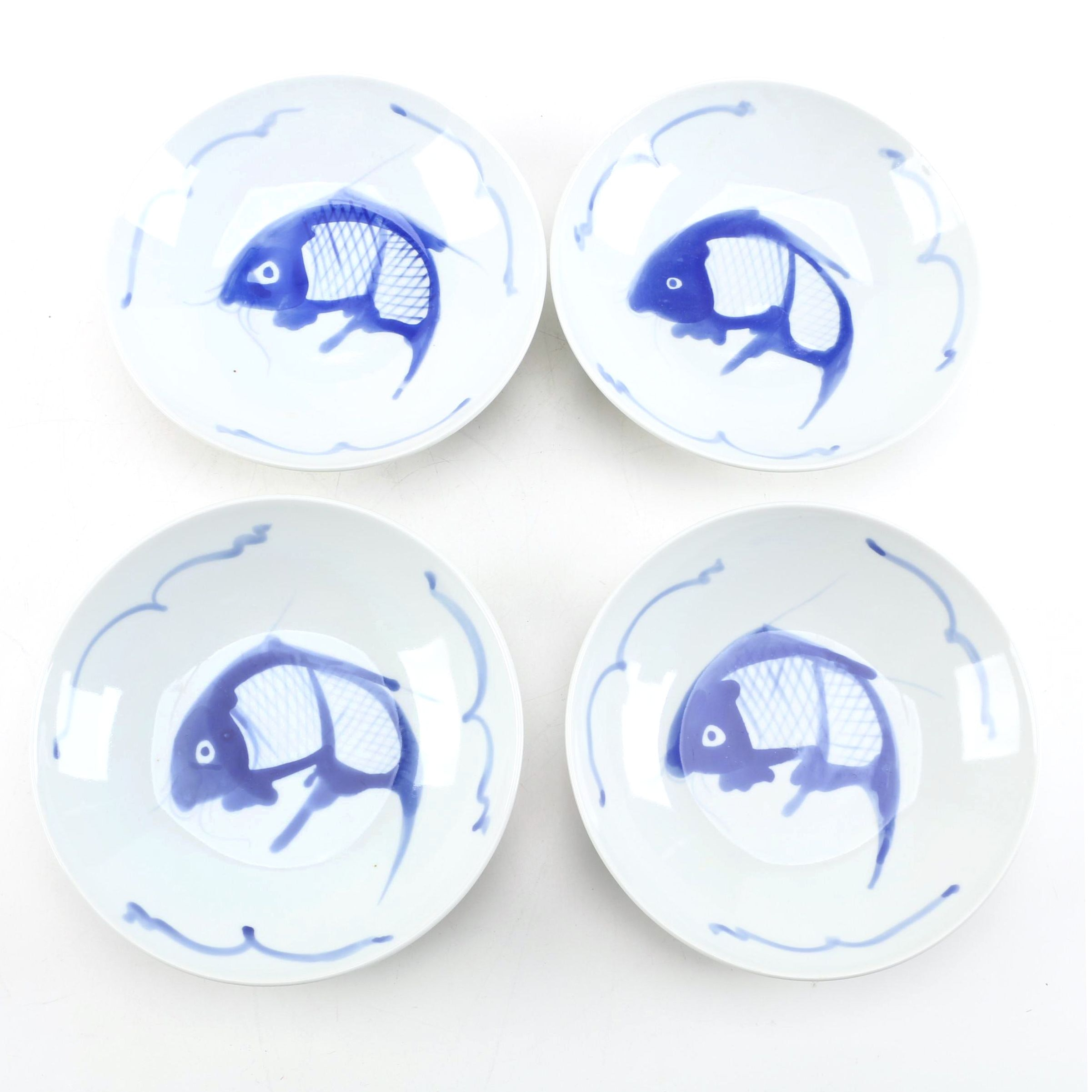 Vintage Chinese Blue Fish Porcelain Bowls