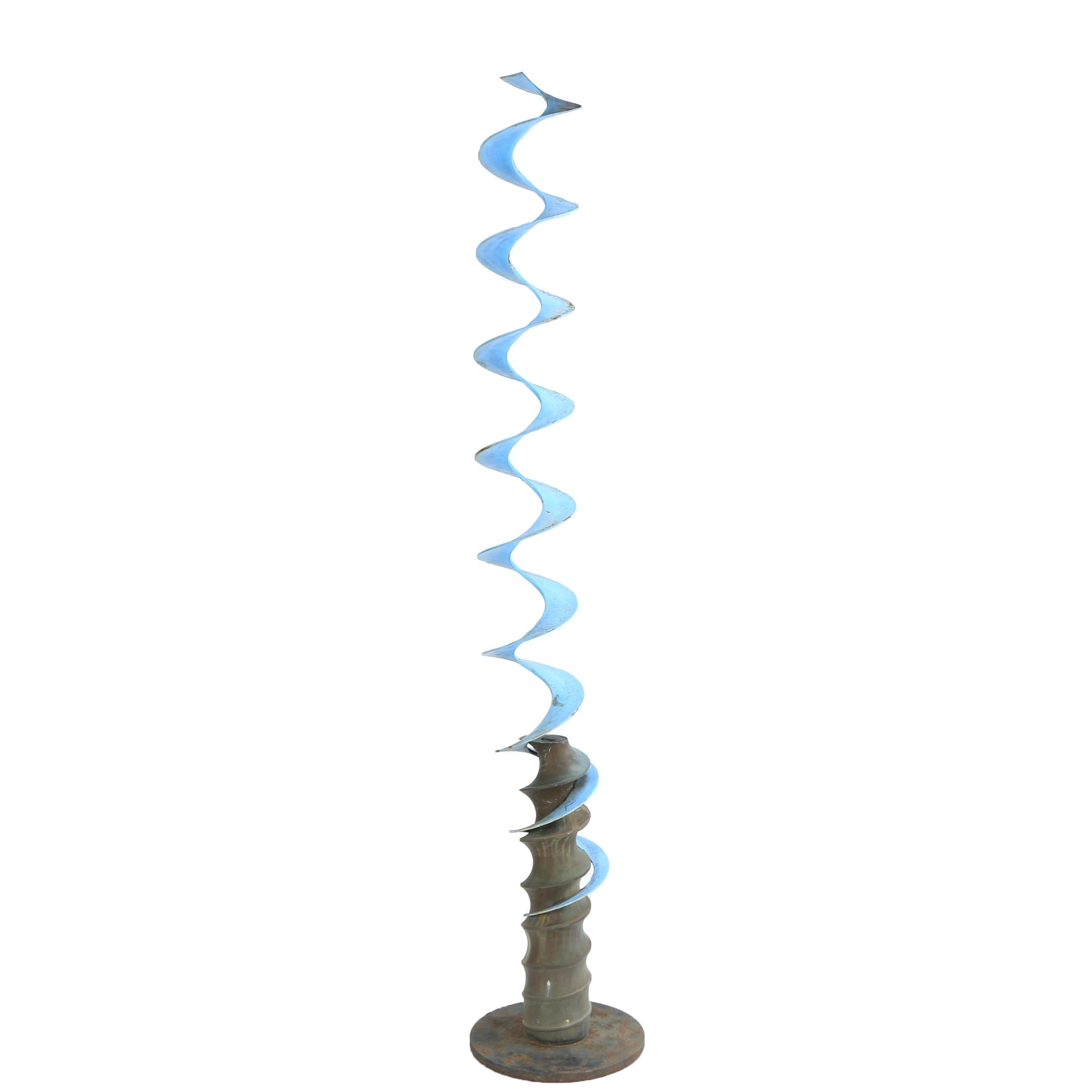 Modernist Vertical Free Standing Blue Screw Metal Sculpture