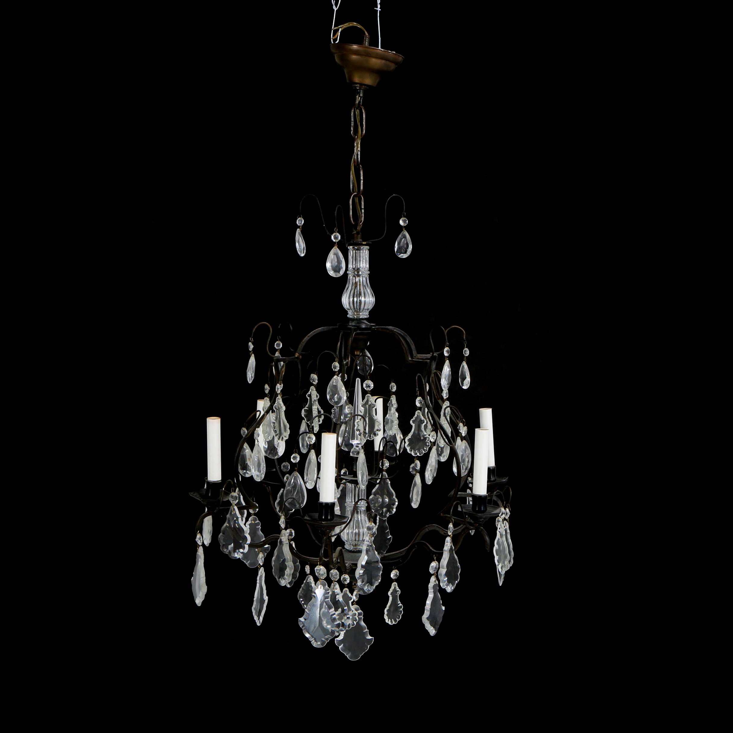 Venetian Style Bronze Toned Metal and Glass Chandelier with Prisms