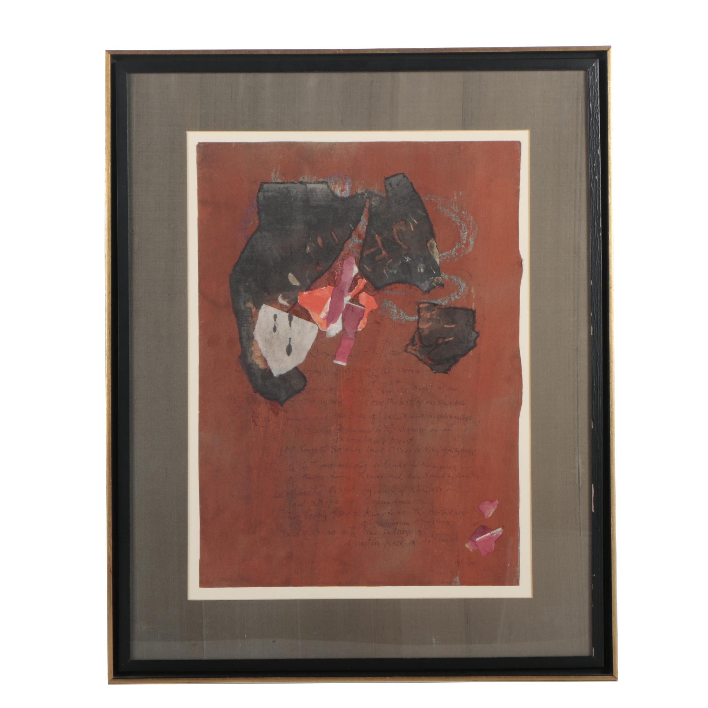 "Ulfert Wilke Mixed Media Painting ""Fragrance of a Rose"""