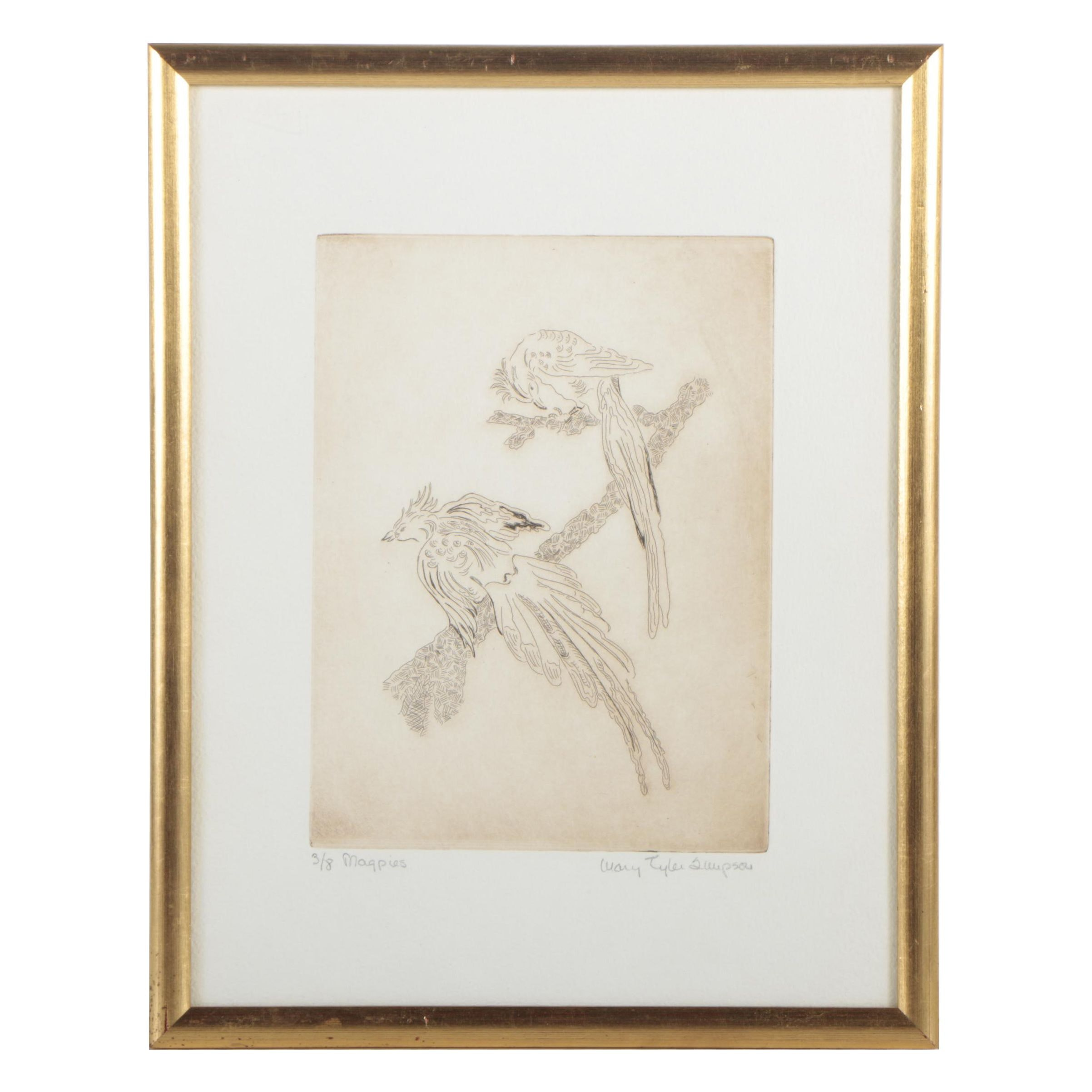 """Mary Tyler Simpson Limited Edition Etching """"Magpies"""""""