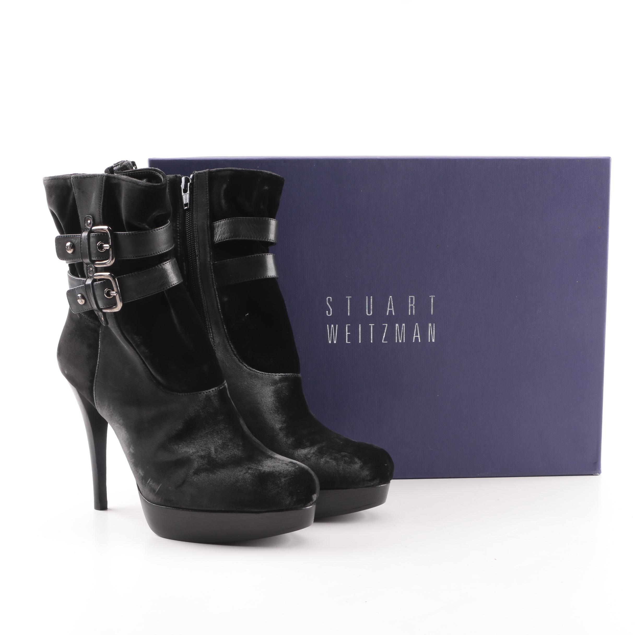 Stuart Weitzman Holster Smoke Velvet Platform Ankle Boots