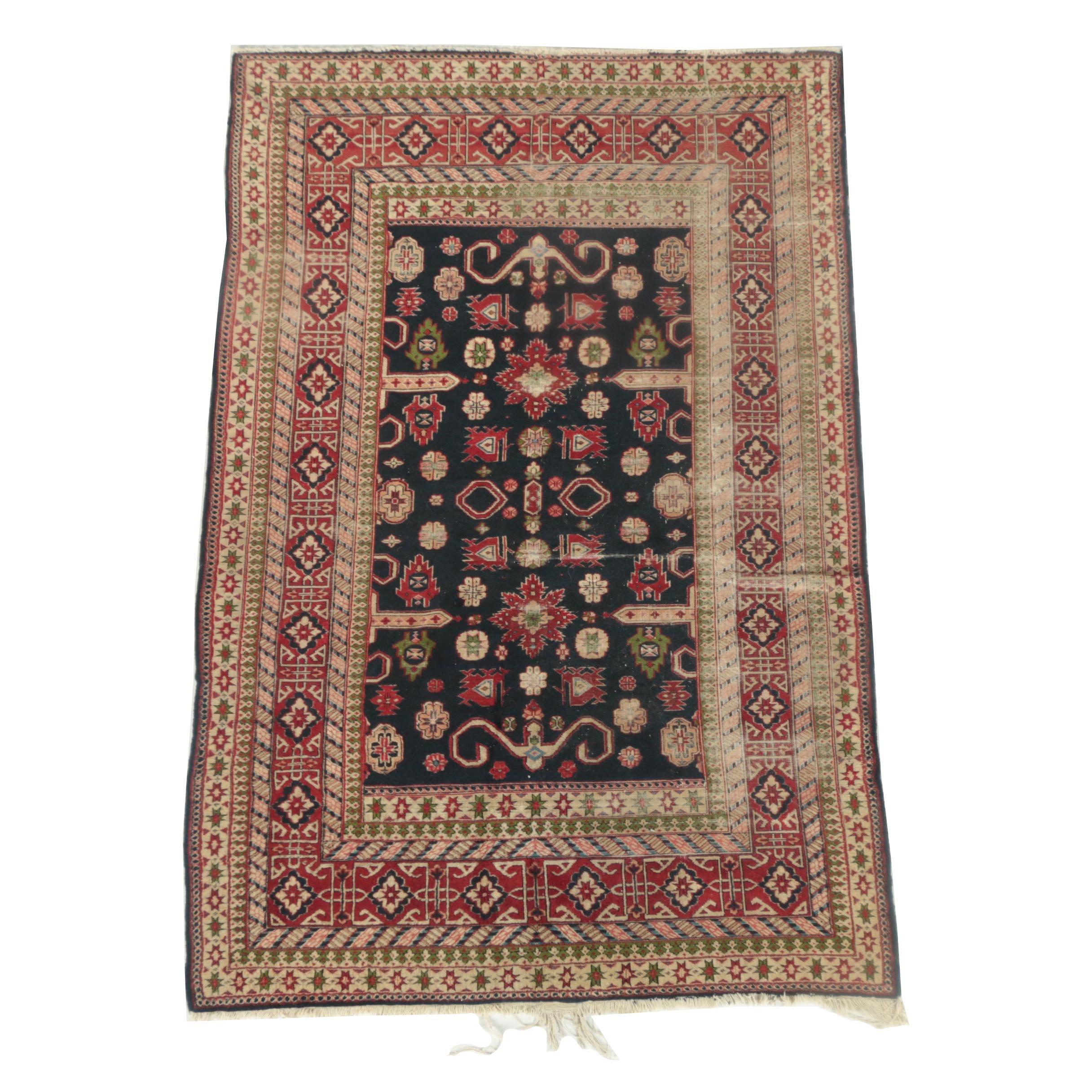 Vintage Hand-Knotted Caucasian Kuba Wool Area Rug
