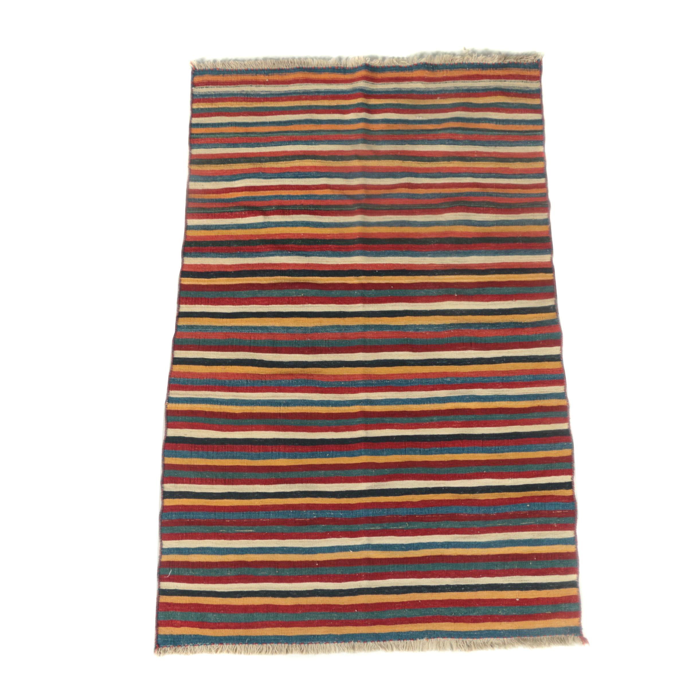 Handwoven Persian Shahsavan Banded Wool Kilim