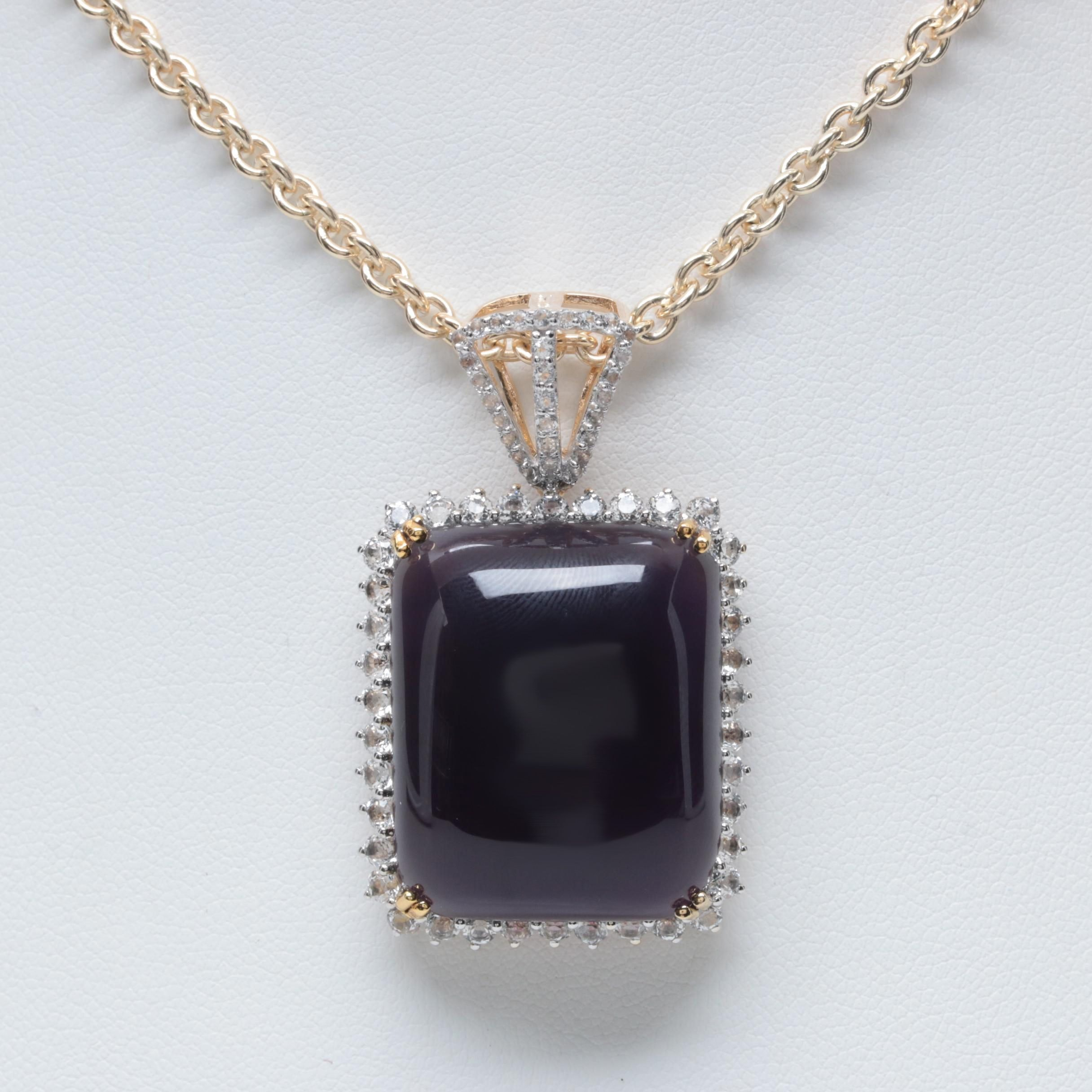 Gold Wash on Sterling Silver Synthetic Amethyst and White Topaz Pendant Necklace