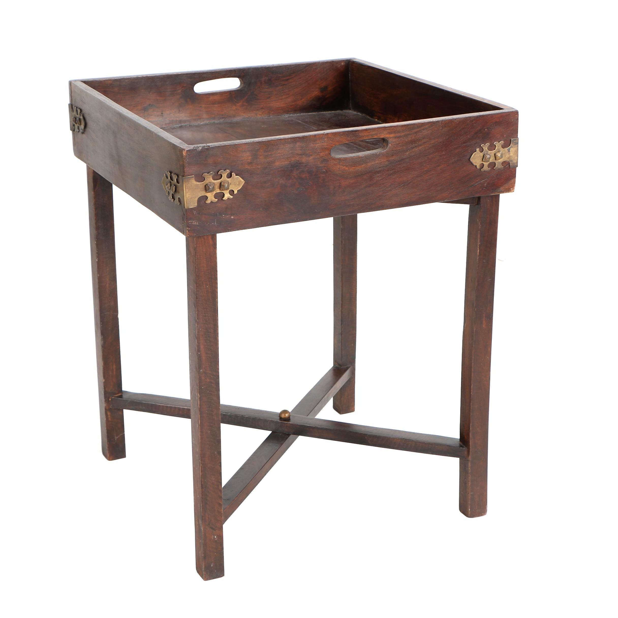 F.O. Merz & Co. Wood and Brass Butler's Table