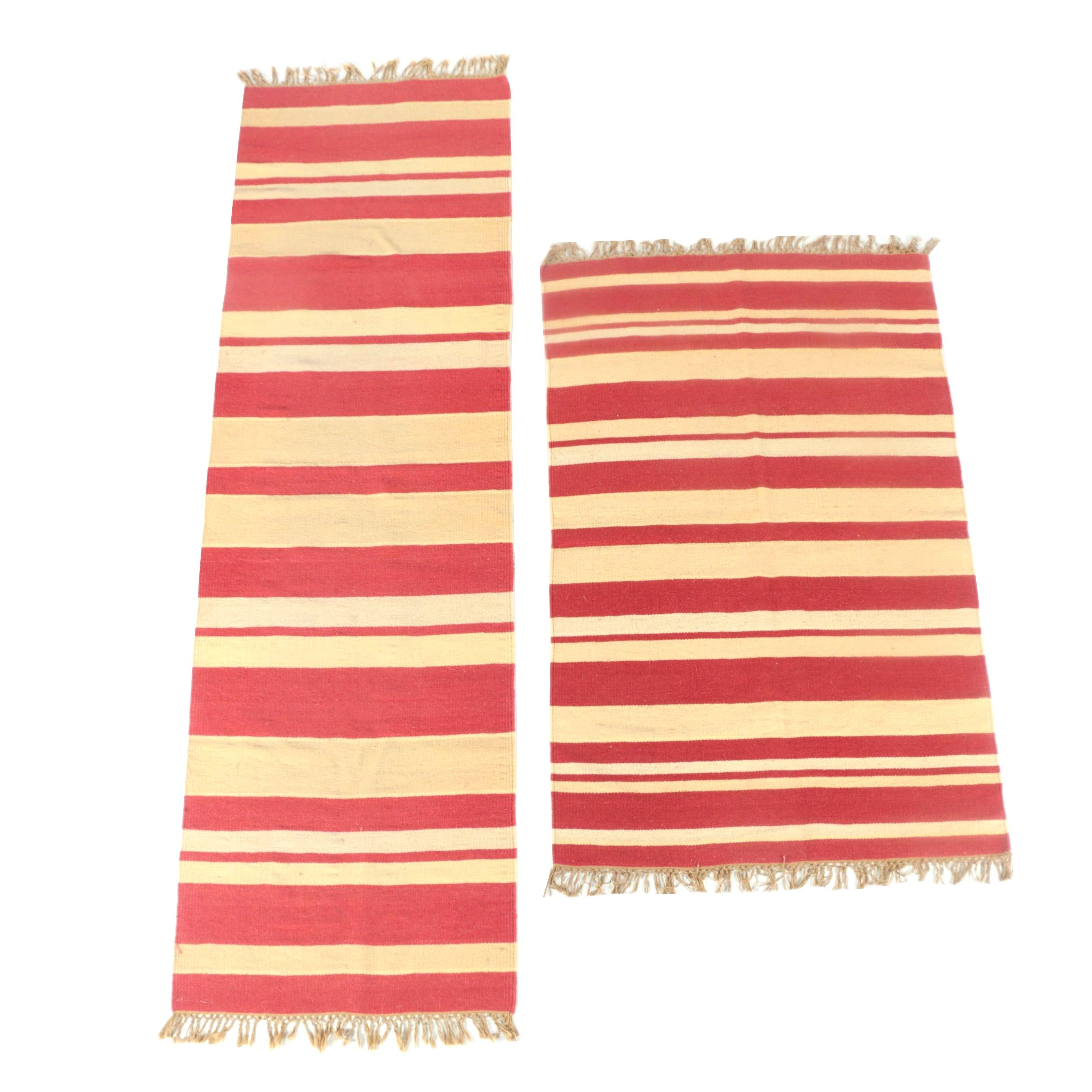 """Handwoven Indian """"Chelsea Stripe"""" Wool and Cotton Accent Rug and Runner"""