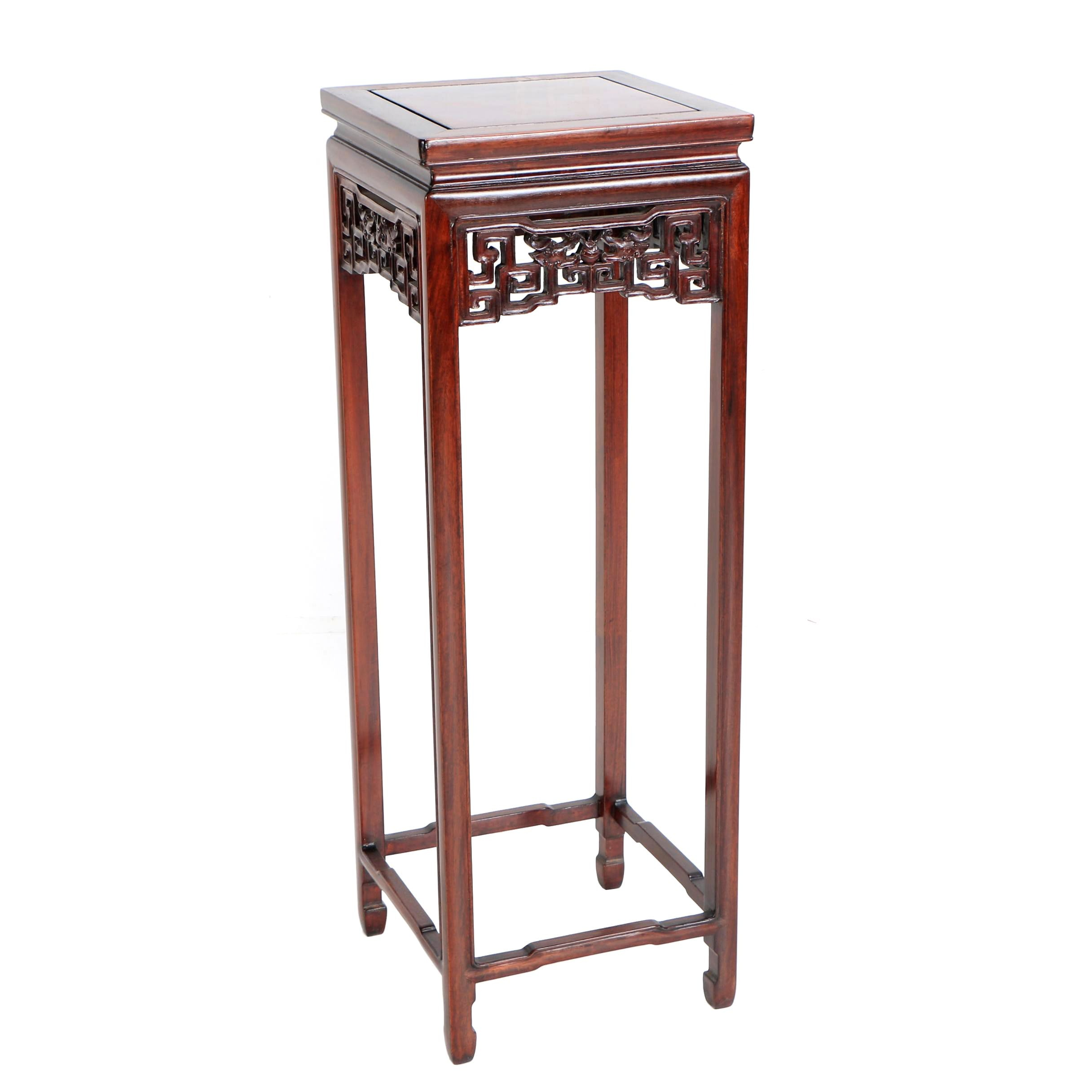 Chinese Cherry Finish Wooden Plant Stand with Meander Skirt