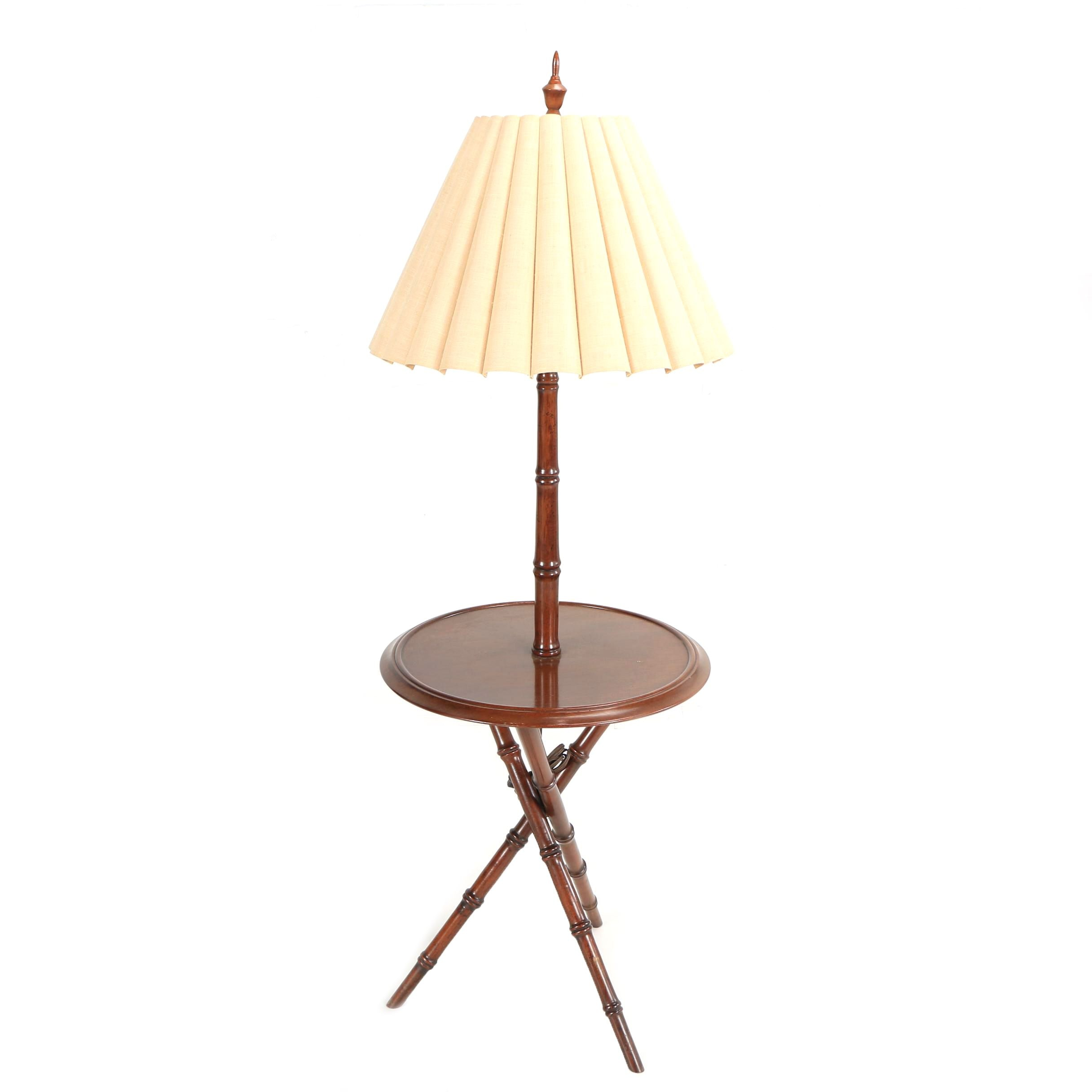 Bamboo Style Mahogany Floor Lamp with Round Table Top