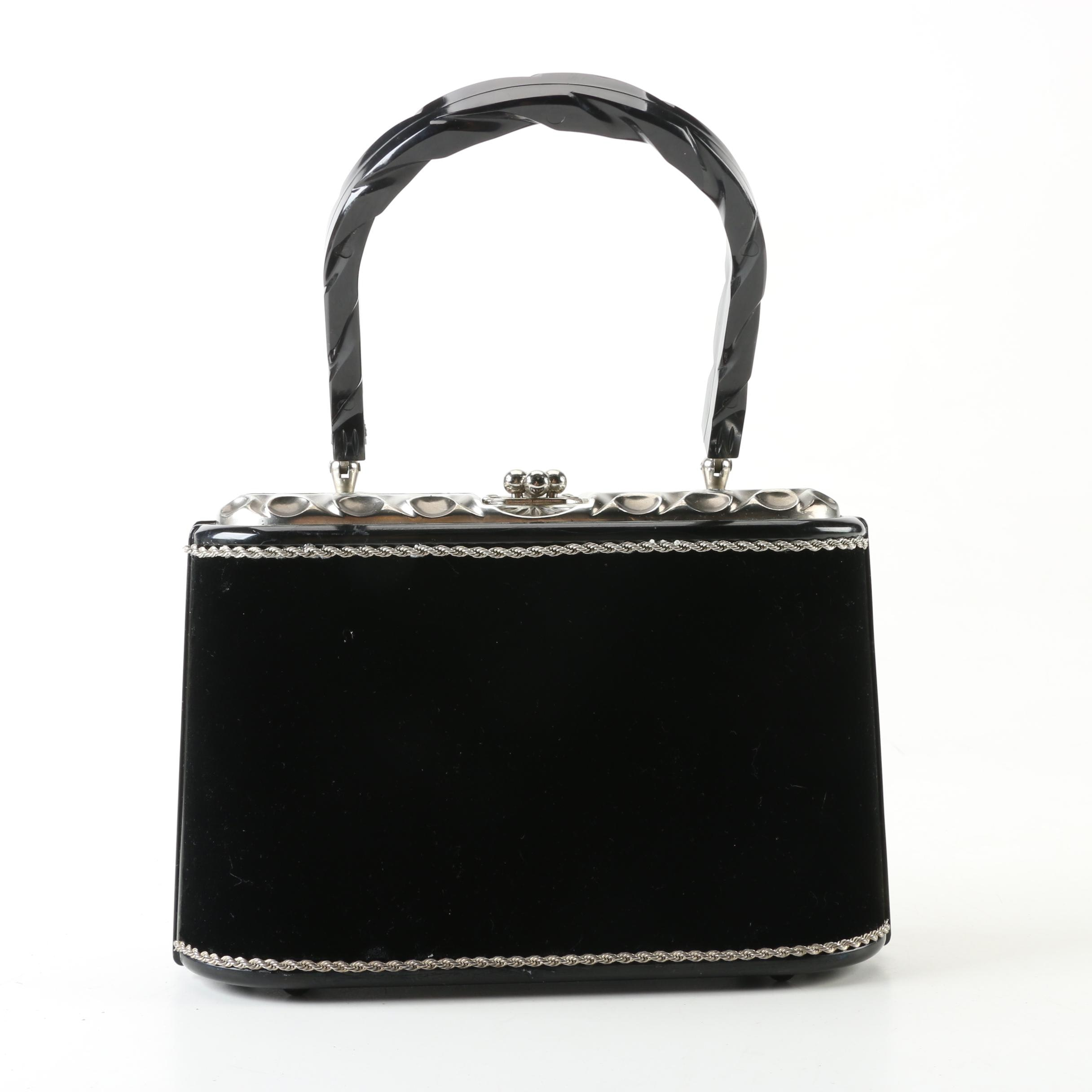Vintage Black Velvet and Acrylic Hinged Evening Bag