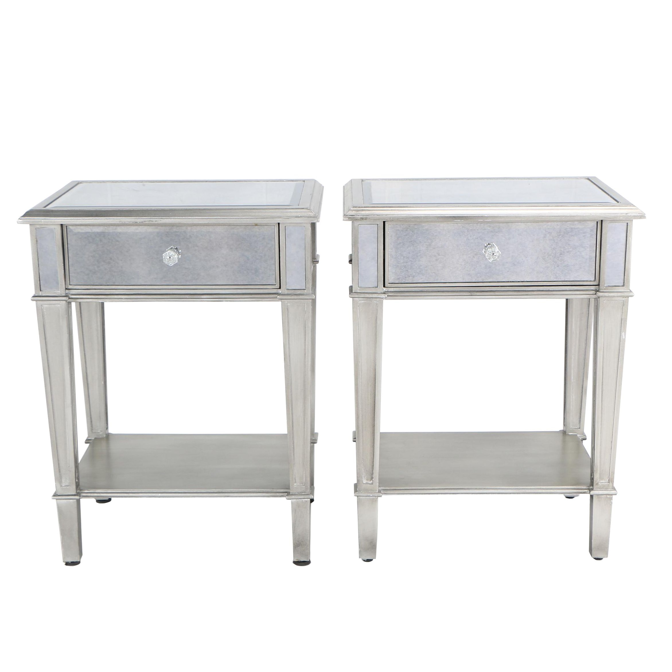 Silver Tone and Mirrored Side Tables