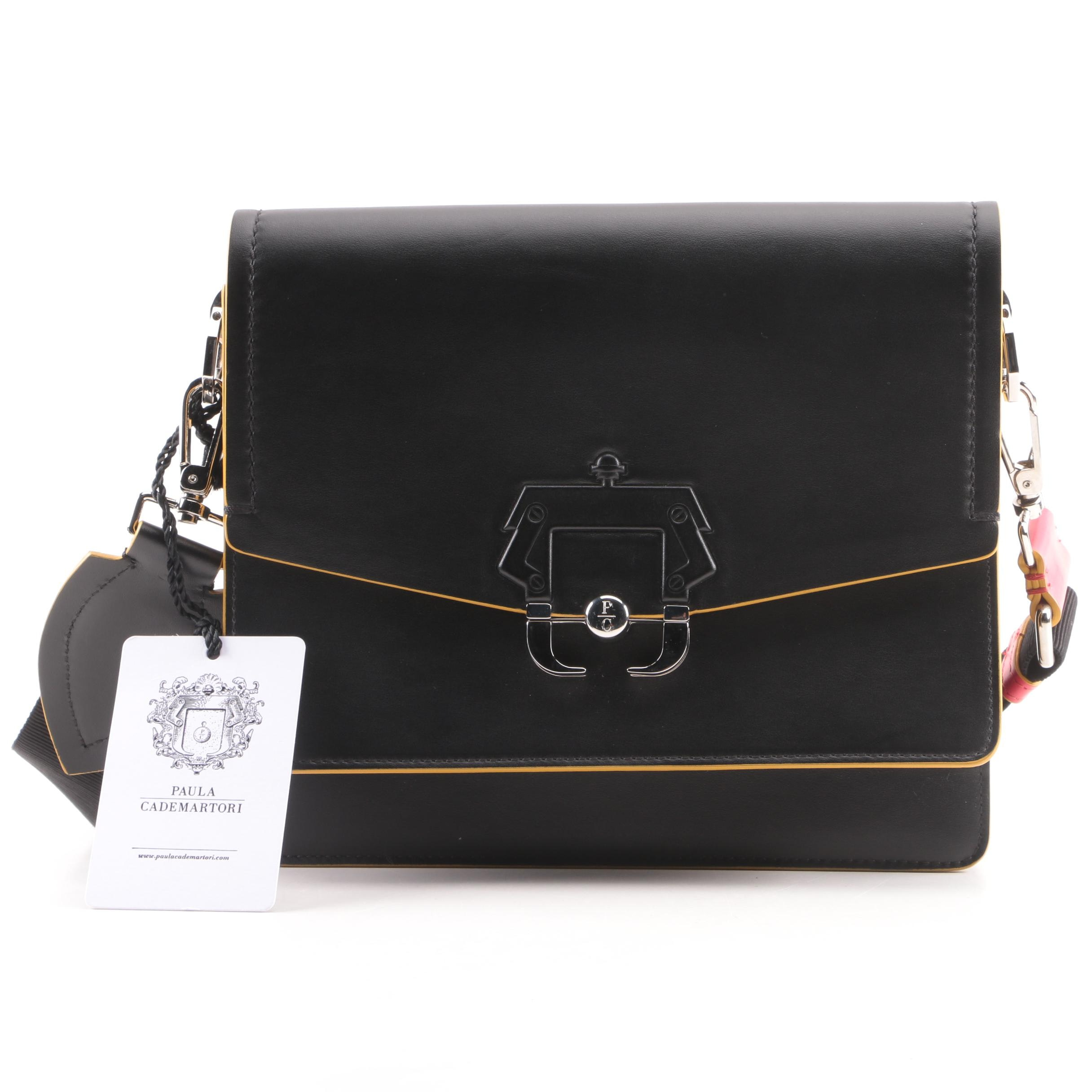Paula Cademartori Twiggy Black Leather Shoulder Bag