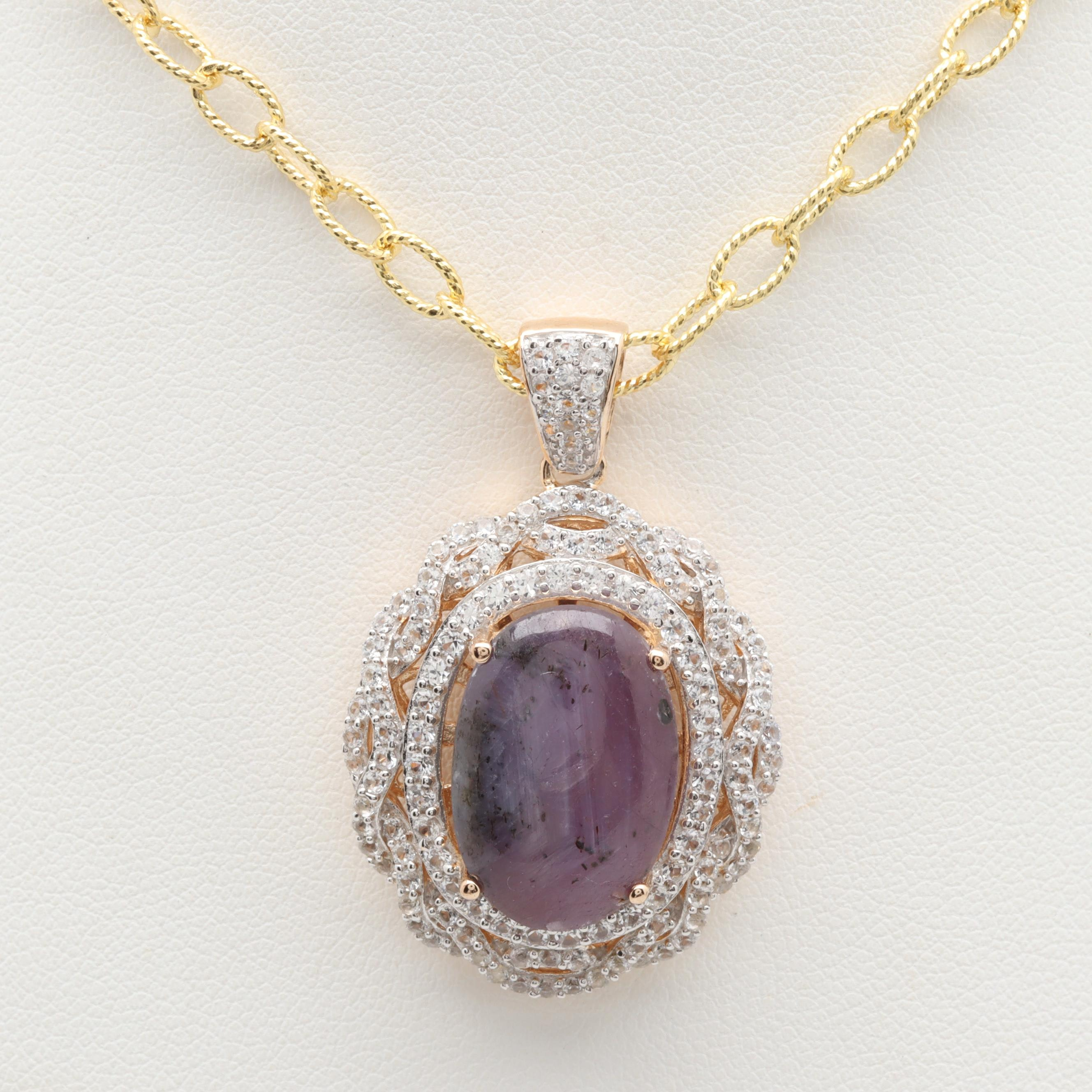 Gold Wash on Sterling Silver Star Ruby and White Sapphire Pendant Necklace