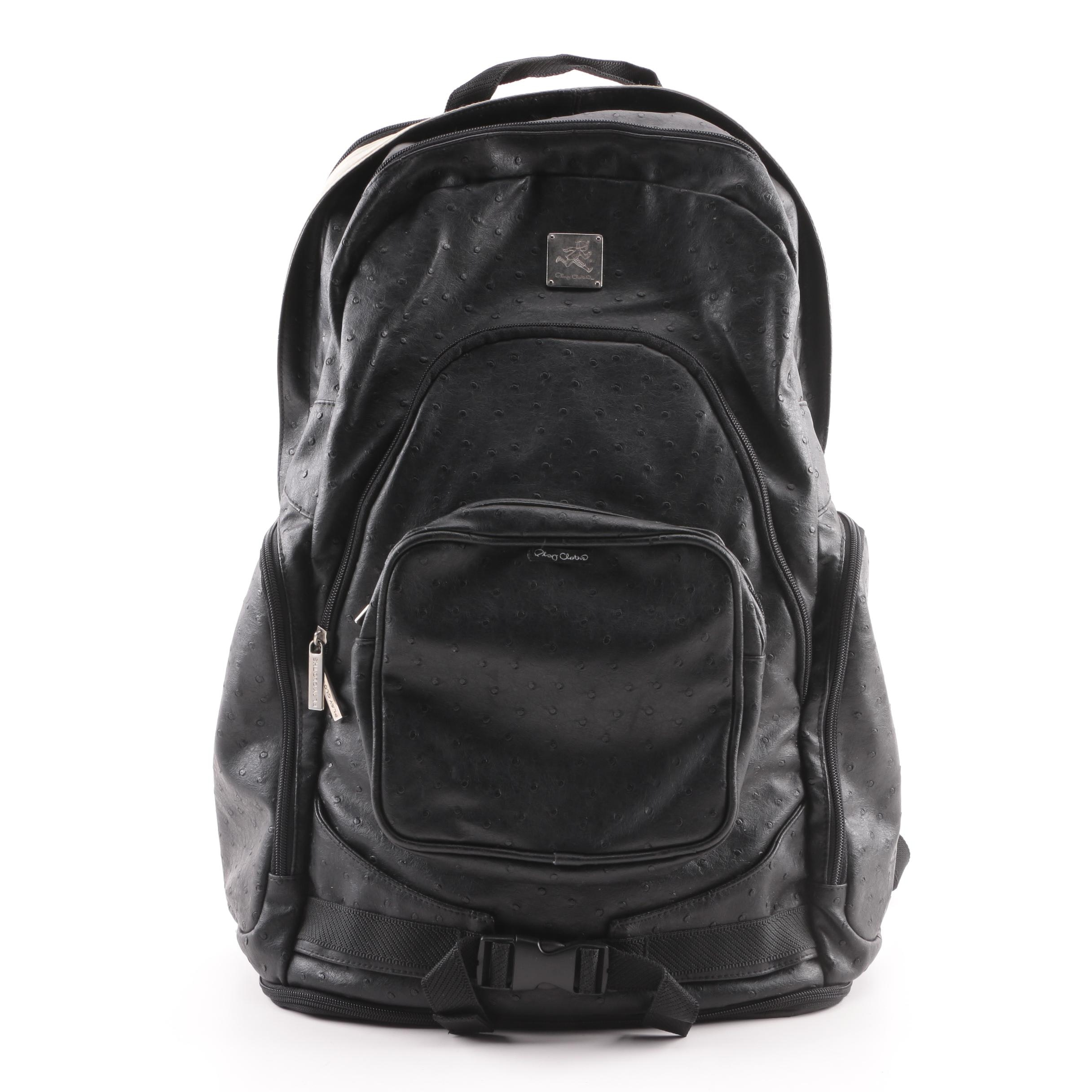 Play Cloths Ostrich Embossed Faux Leather Backpack