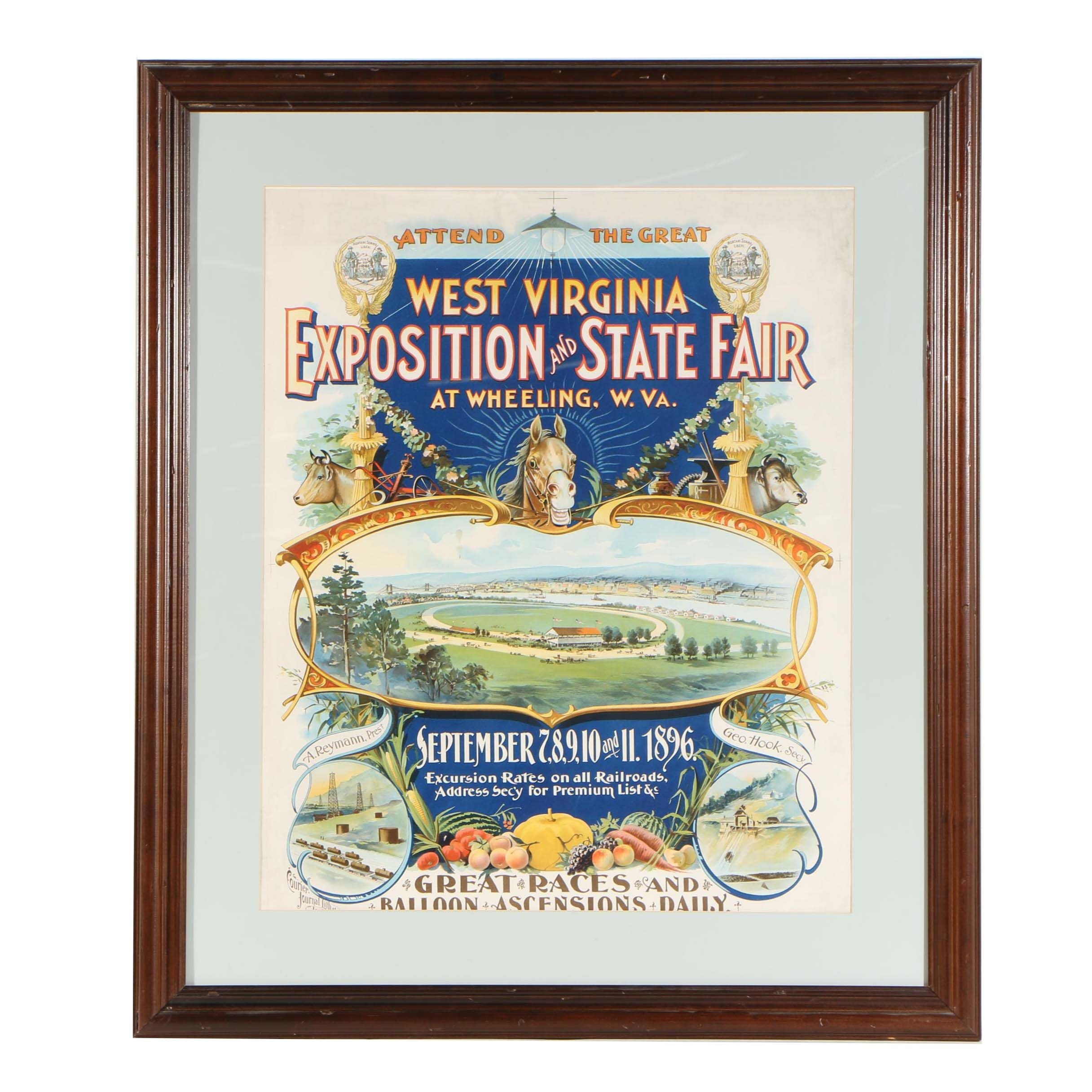 1896 West Virginia Exposition and State Fair Poster