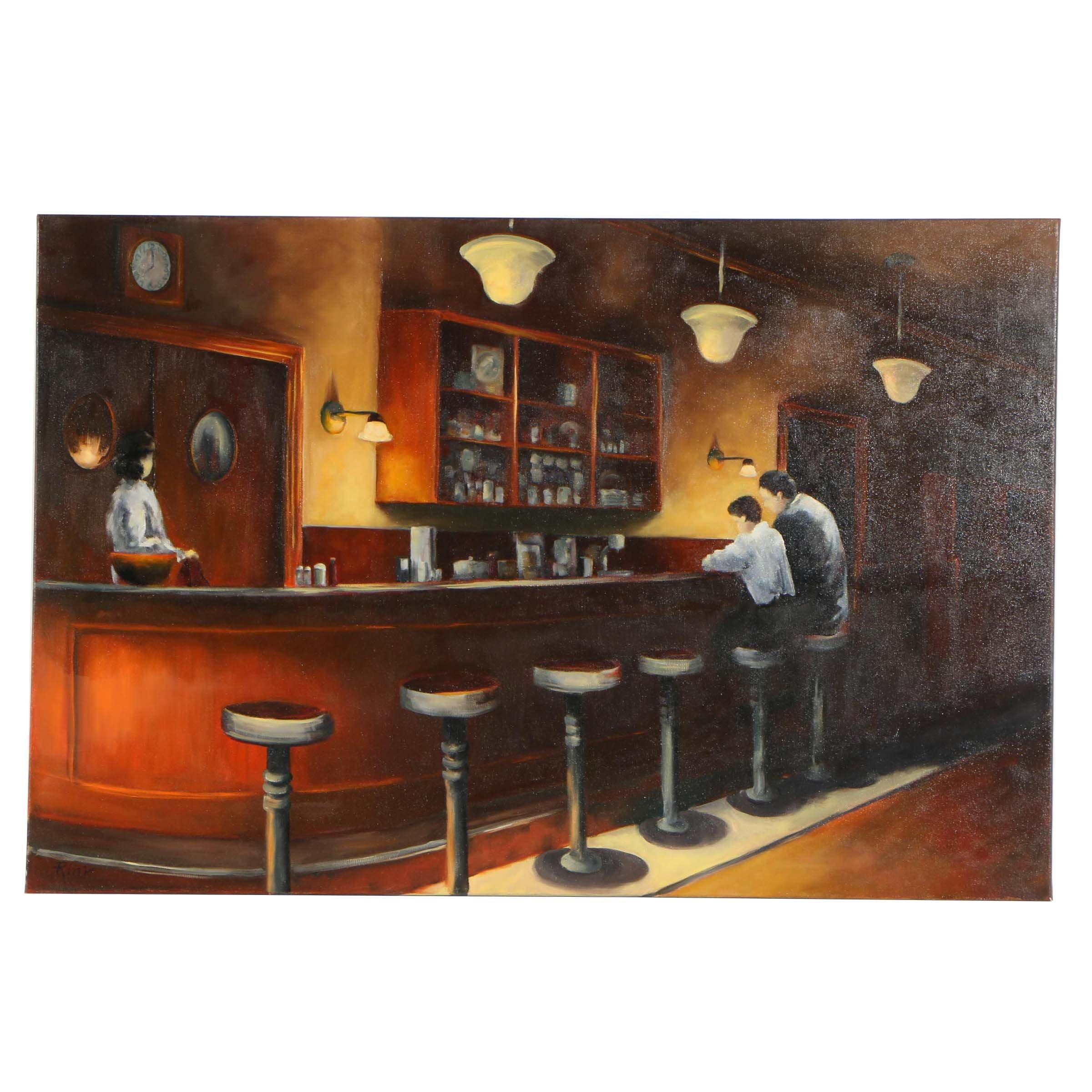 "Rink Oil Painting ""Route 52 Diner"""