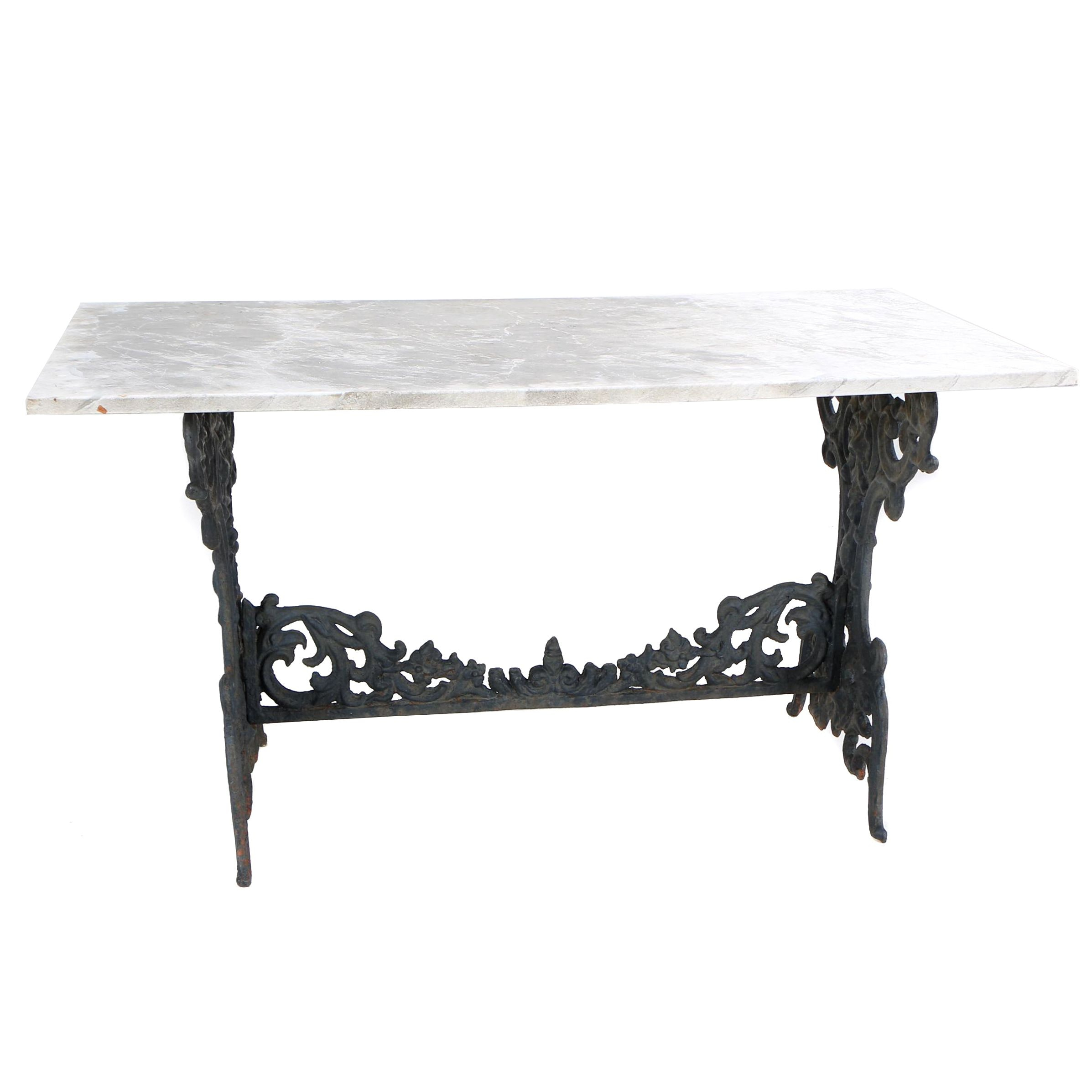 White Marble Patio Table with Black Painted Cast Iron Base