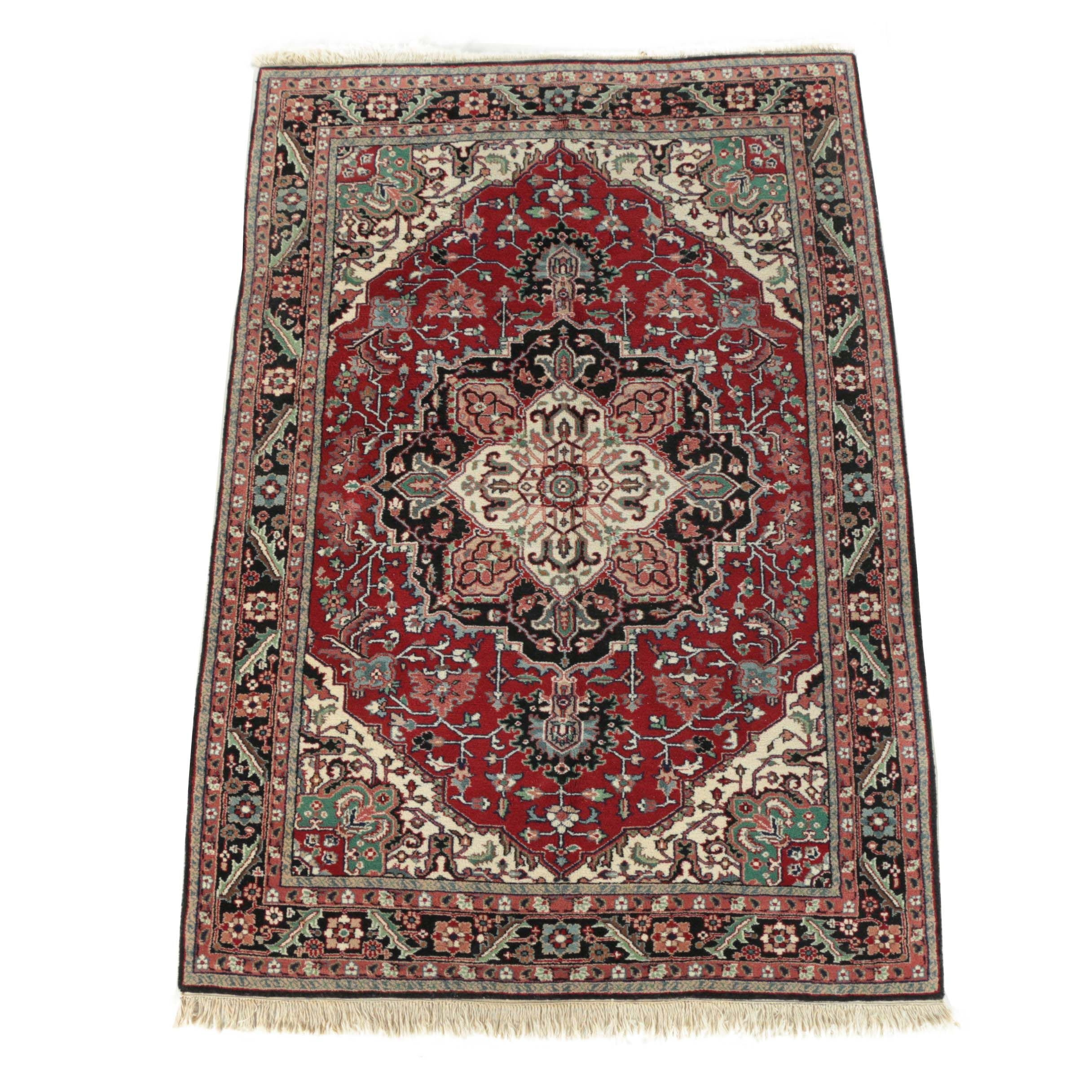 Hand-Knotted Indo-Heriz Wool Area Rug