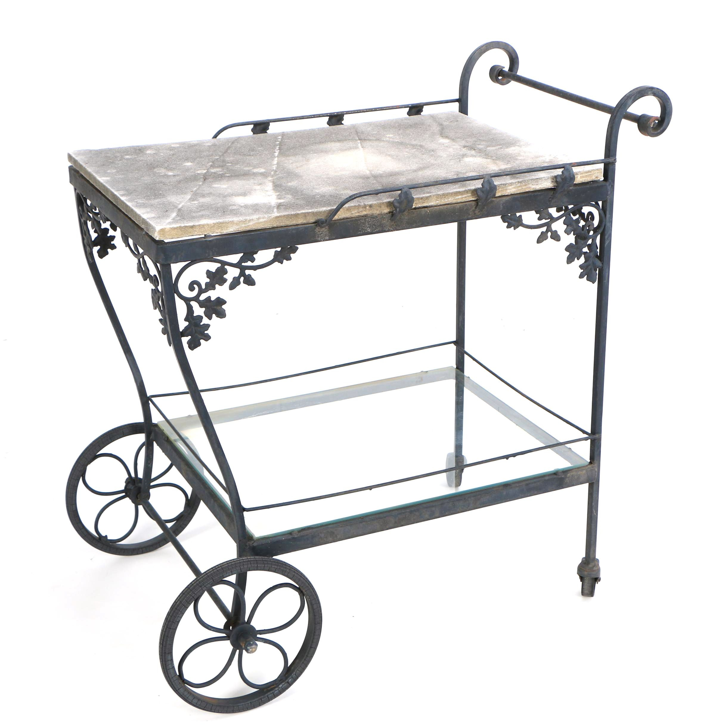 Black Cast Iron and Stone Top Outdoor Bar Cart Plant Stand