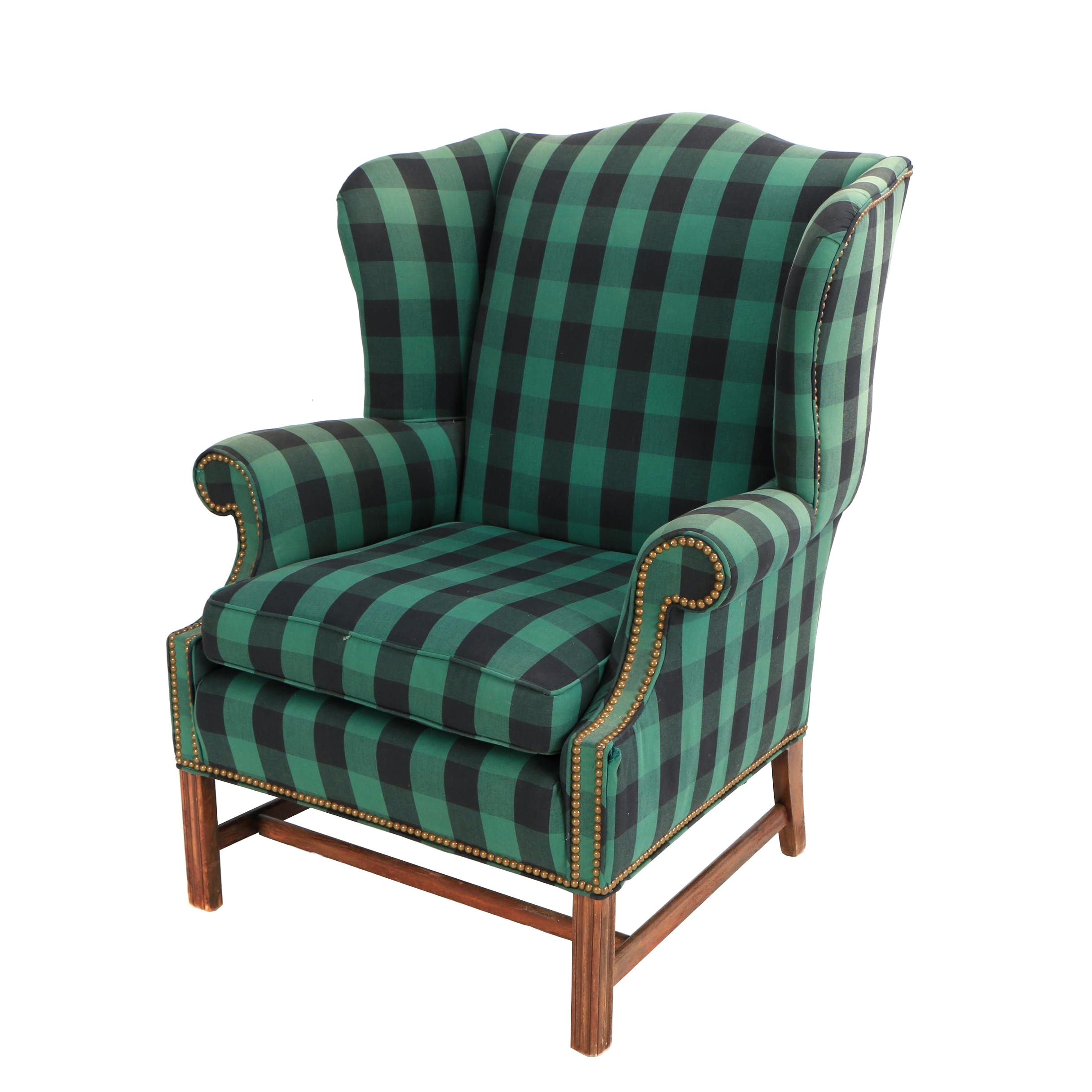 Plaid Upholstered Wing Chair with Brass Nailhead Trim