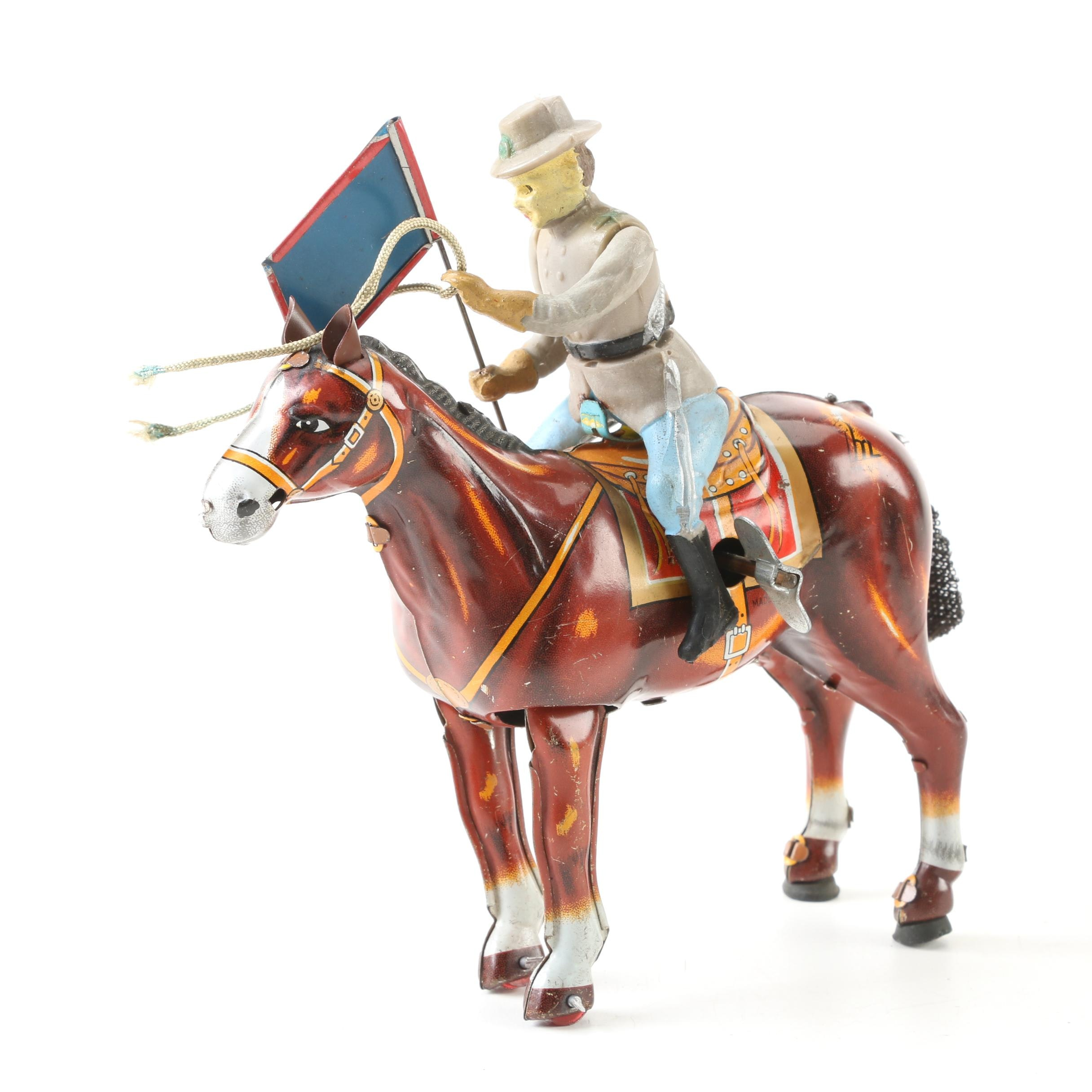 Mikuni Tin Windup Confederate Officer on Horse with Flag, 1950's