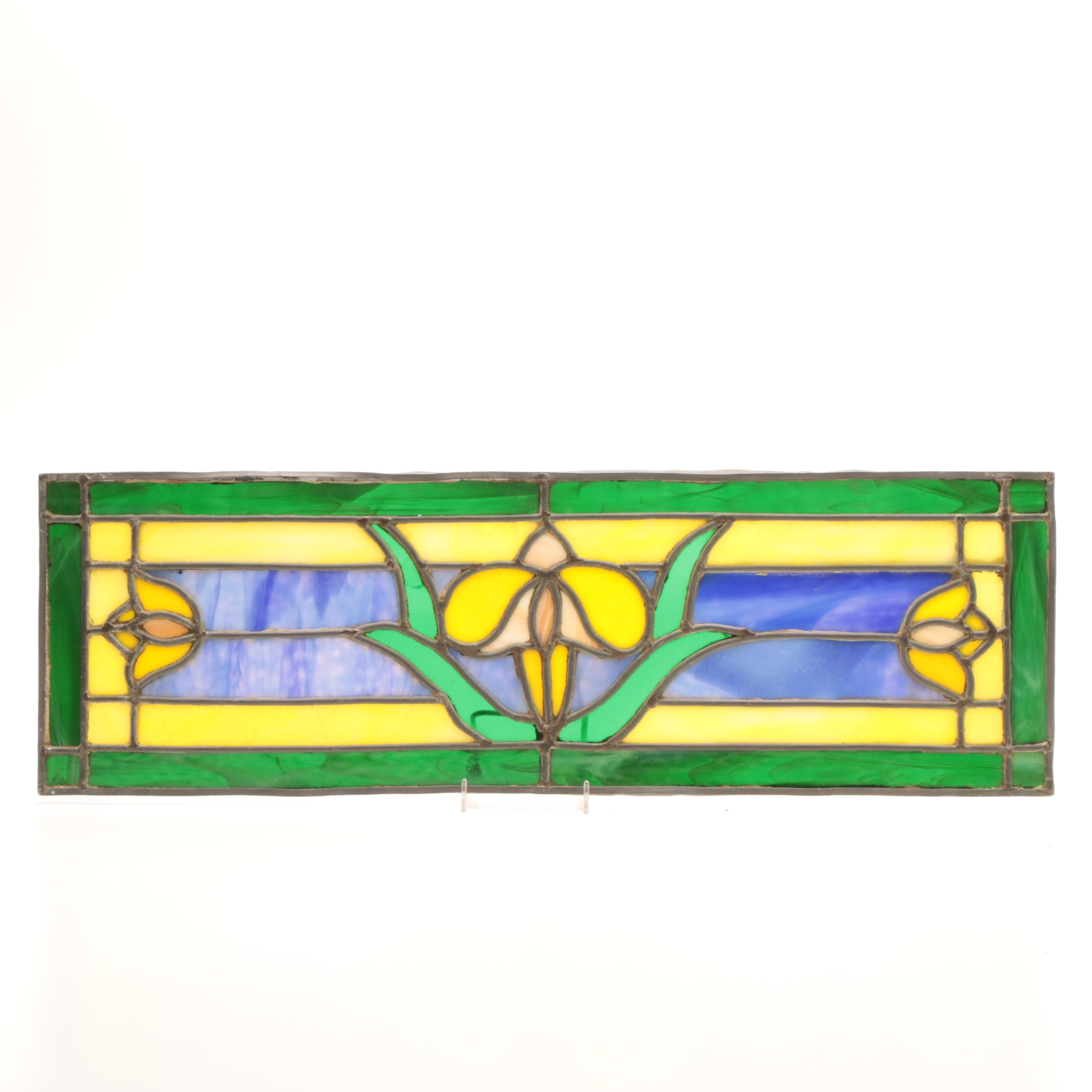 Stained Glass Panel with Floral Motif