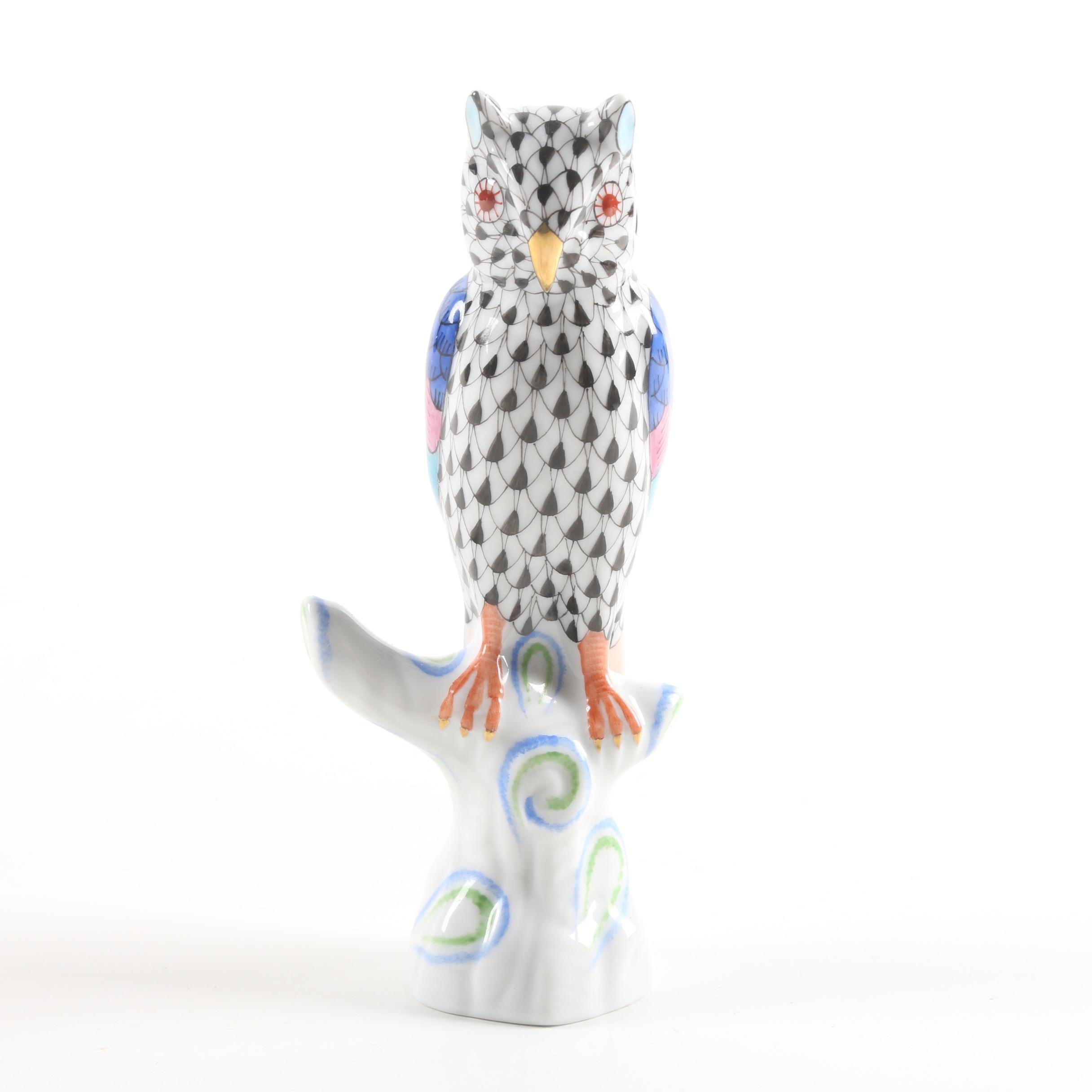"""Herend Hungary """"Owl on Branch"""" Hand-Painted Porcelain Figurine"""