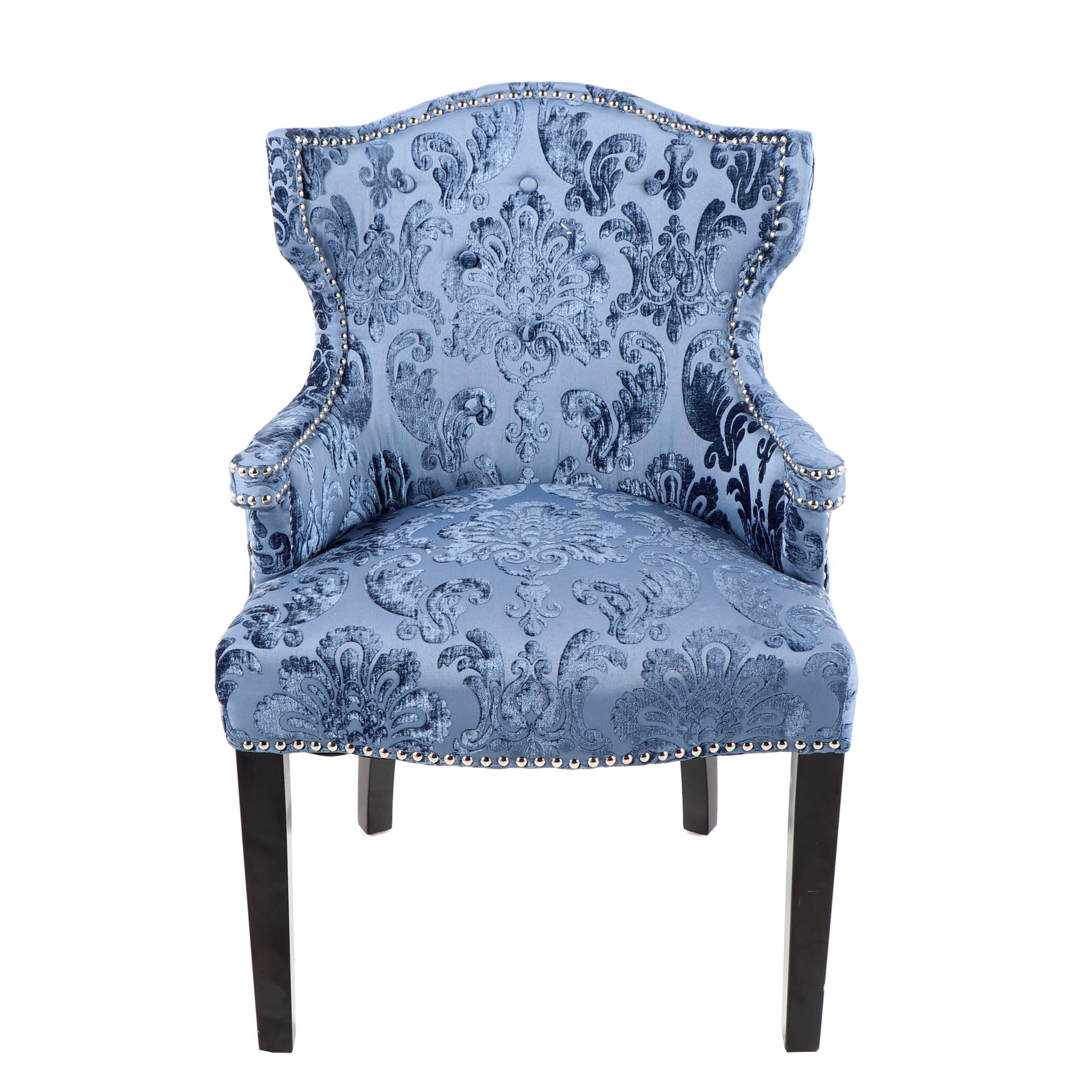 Blue Damask Upholstered Barrel Back Accent Chair