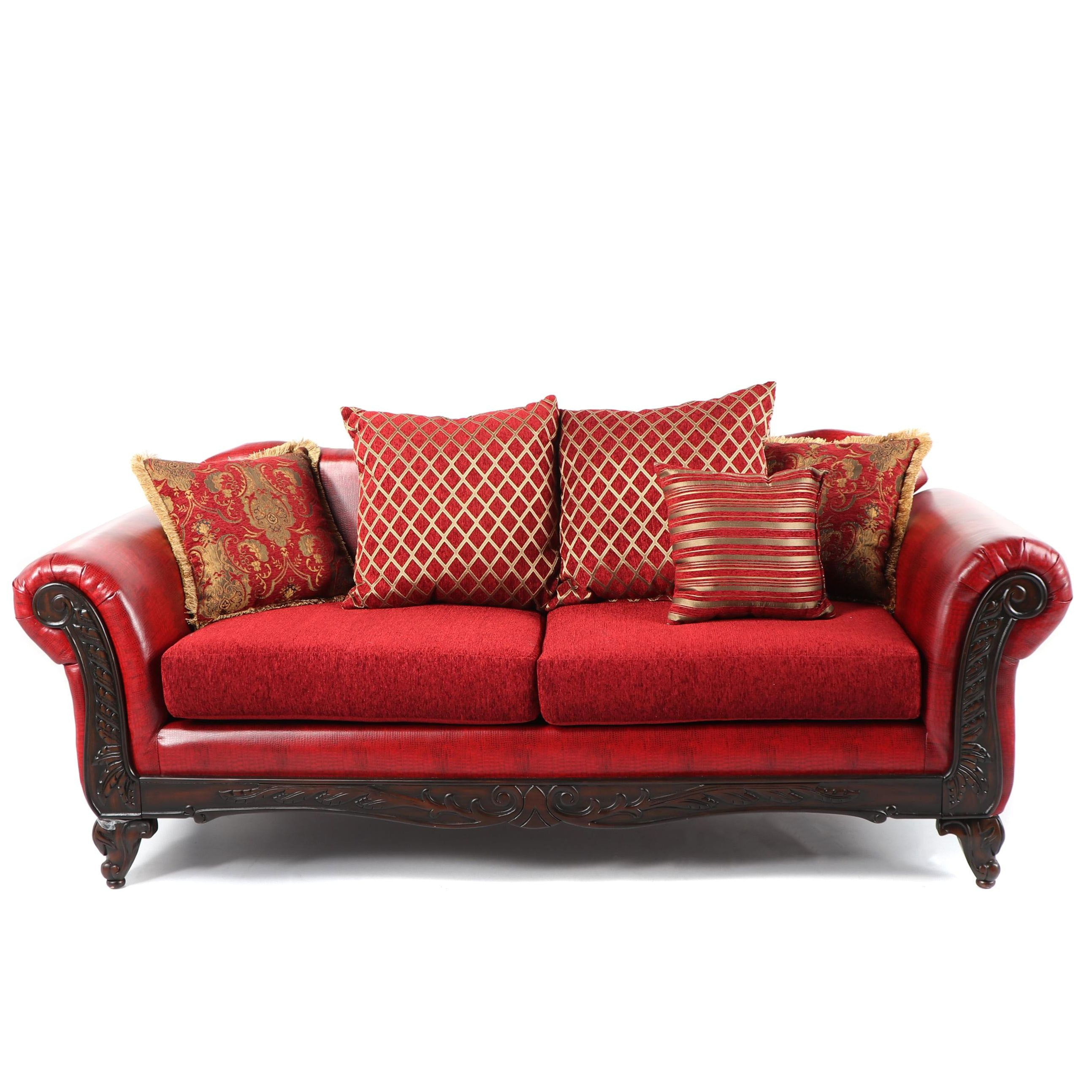 Contemporary Empire Style Red Faux Leather Sofa