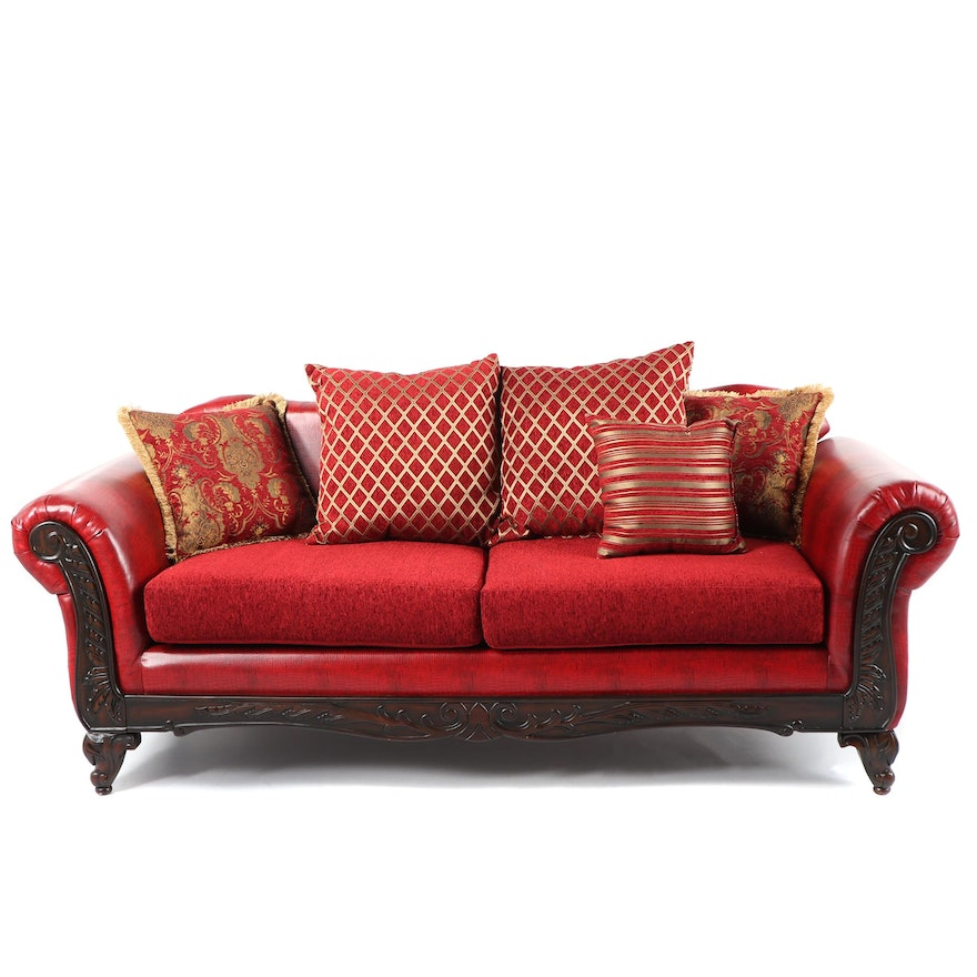 Contemporary Empire Style Red Faux Leather Sofa : EBTH