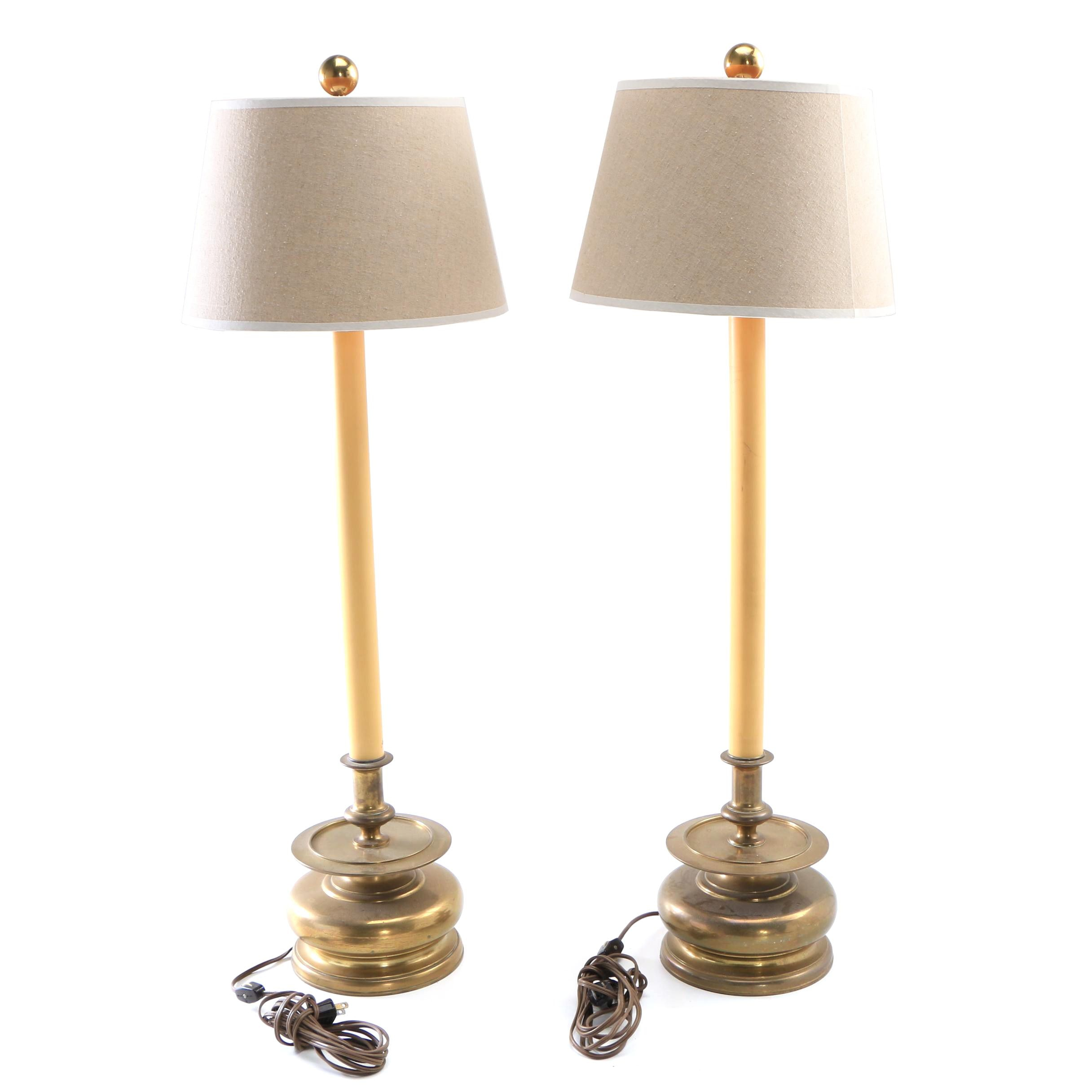 Vintage Chapman Candlestick Style Buffet Lamps with Fabric Shades