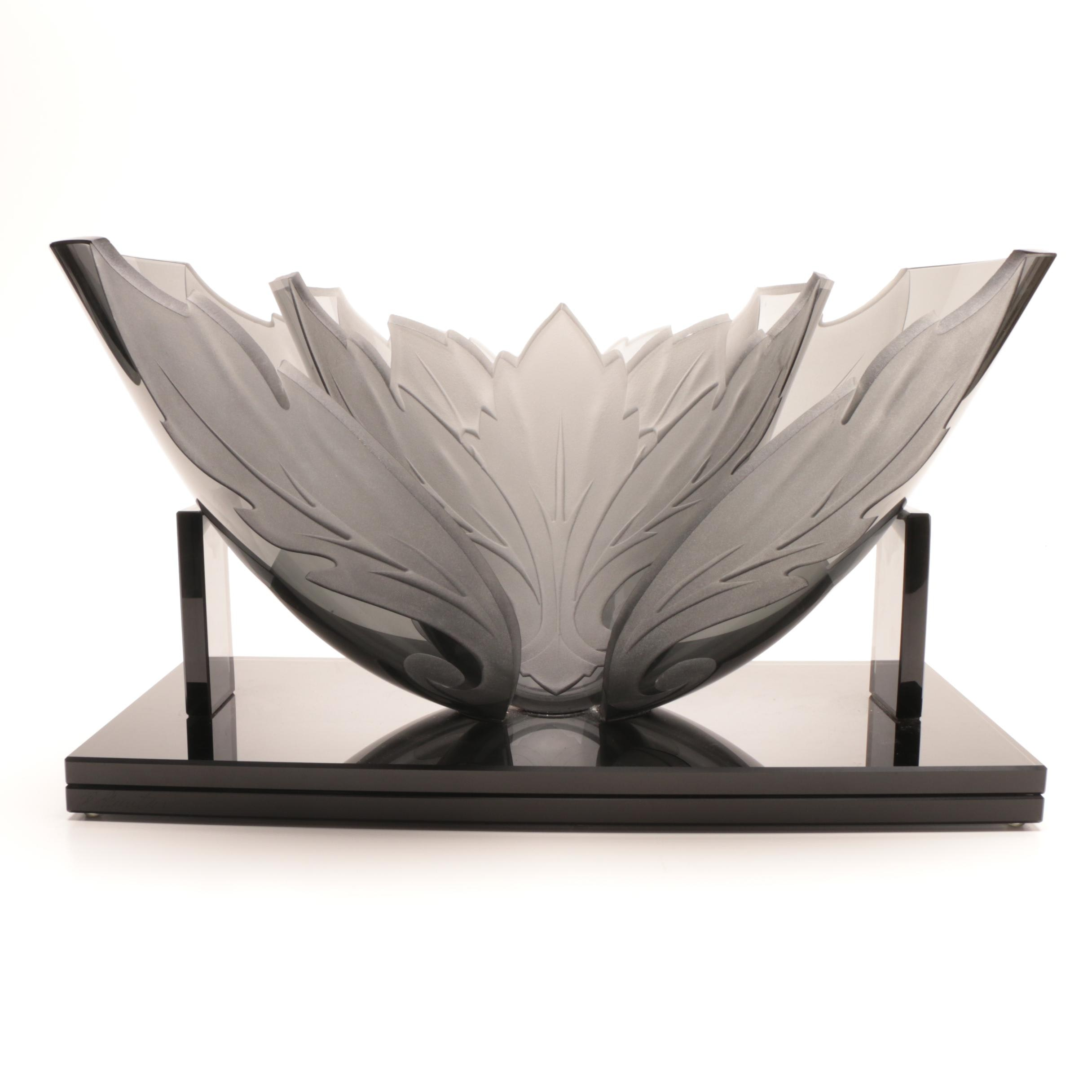 Contemporary Art Deco Style Smokey Foliate Cut and Frosted Art Glass Centerpiece