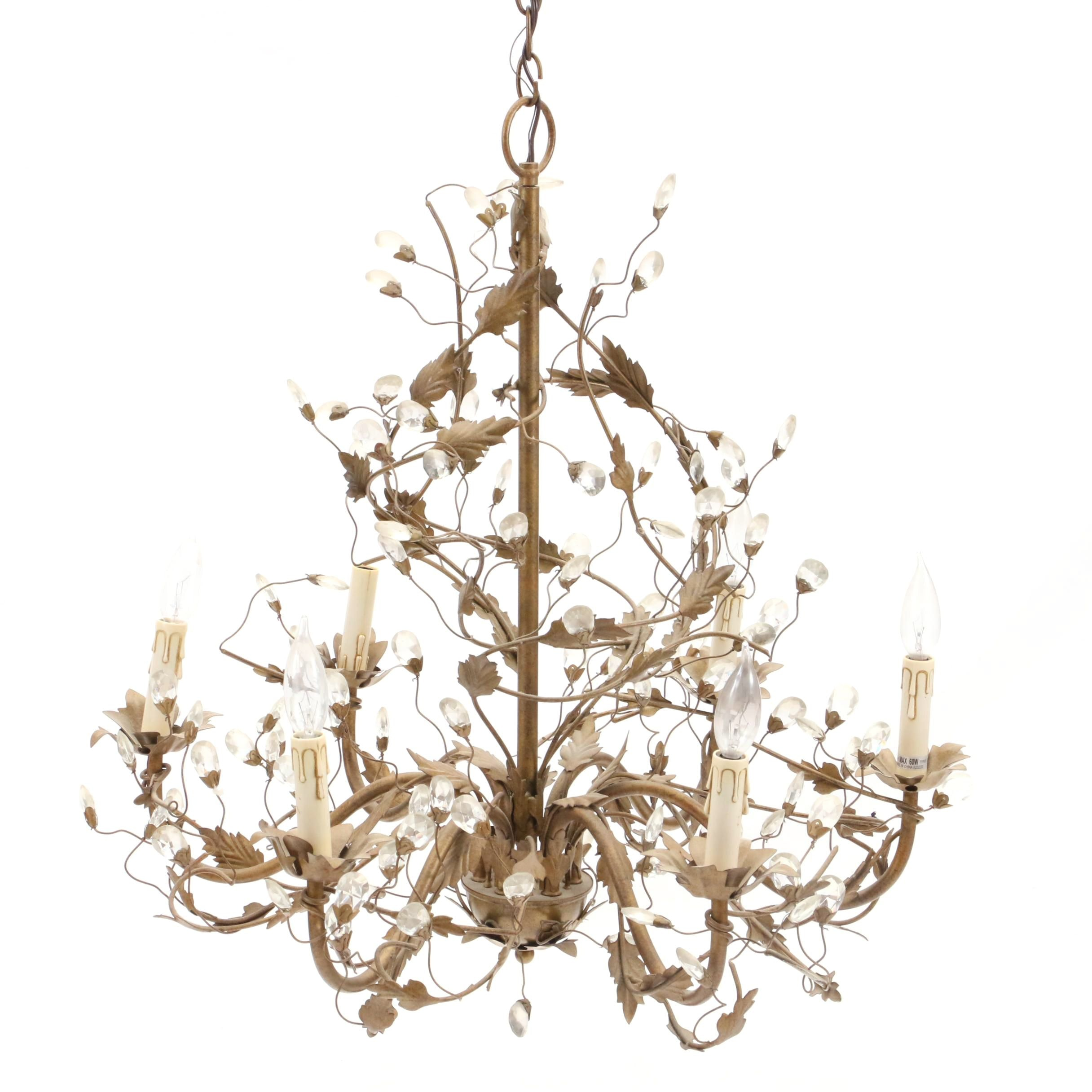 Vintage Metal Tole Chandelier with Prism Accents