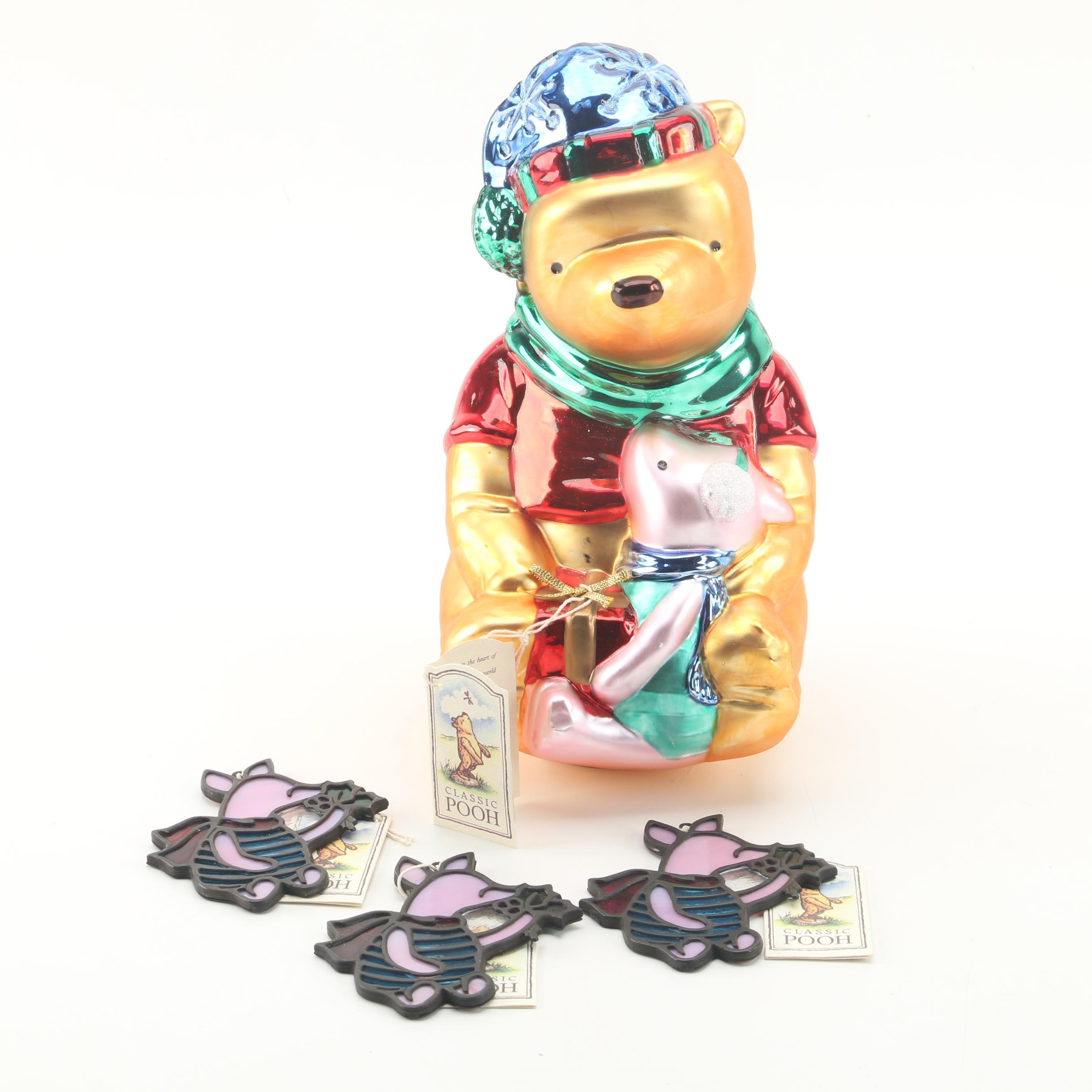 """Midwest of Cannon Falls """"Classic Pooh"""" Glass Christmas Ornaments"""