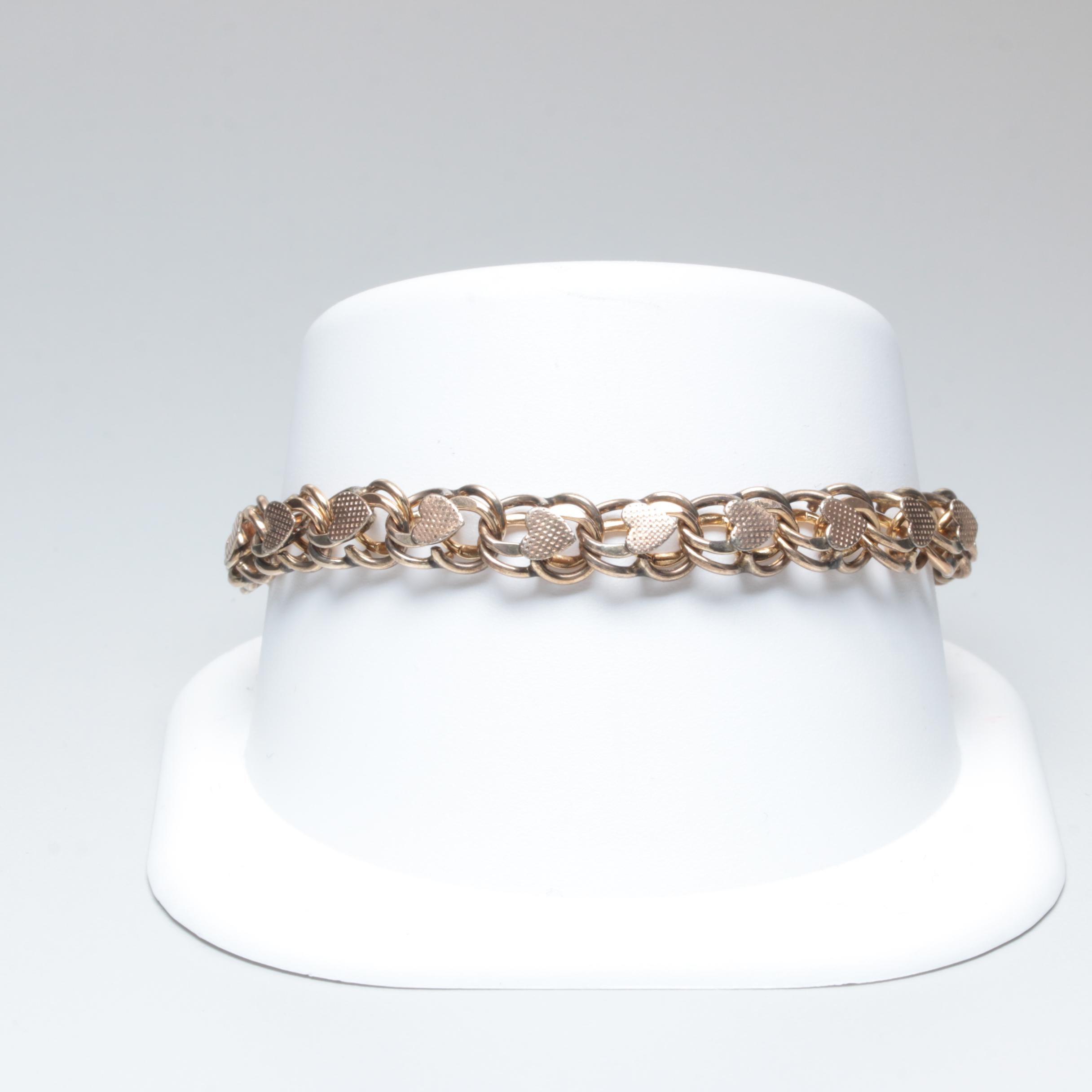 Victorian Gold Filled Heart Motif Bracelet