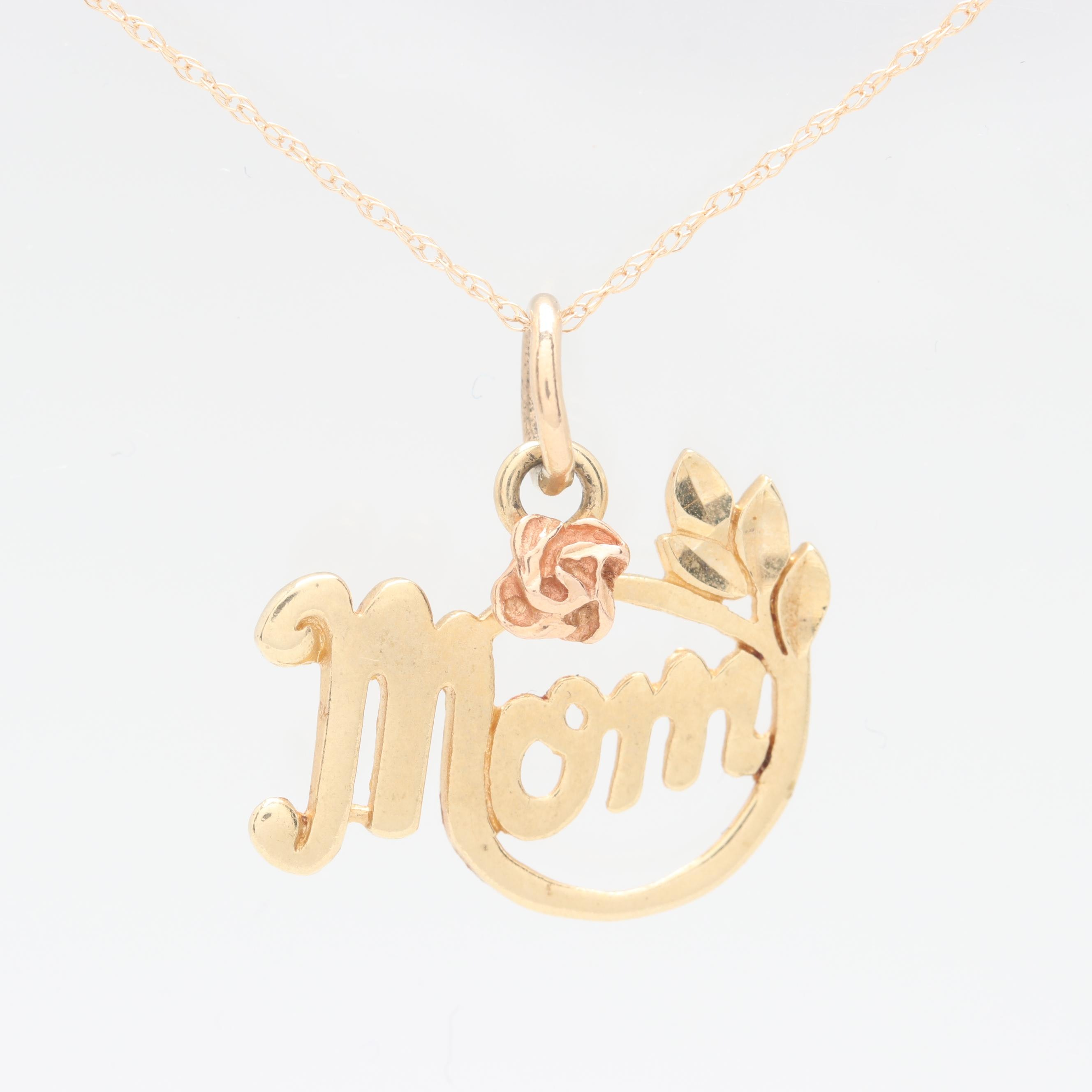 14K Yellow Gold and Rose Gold Accent Pendant Necklace